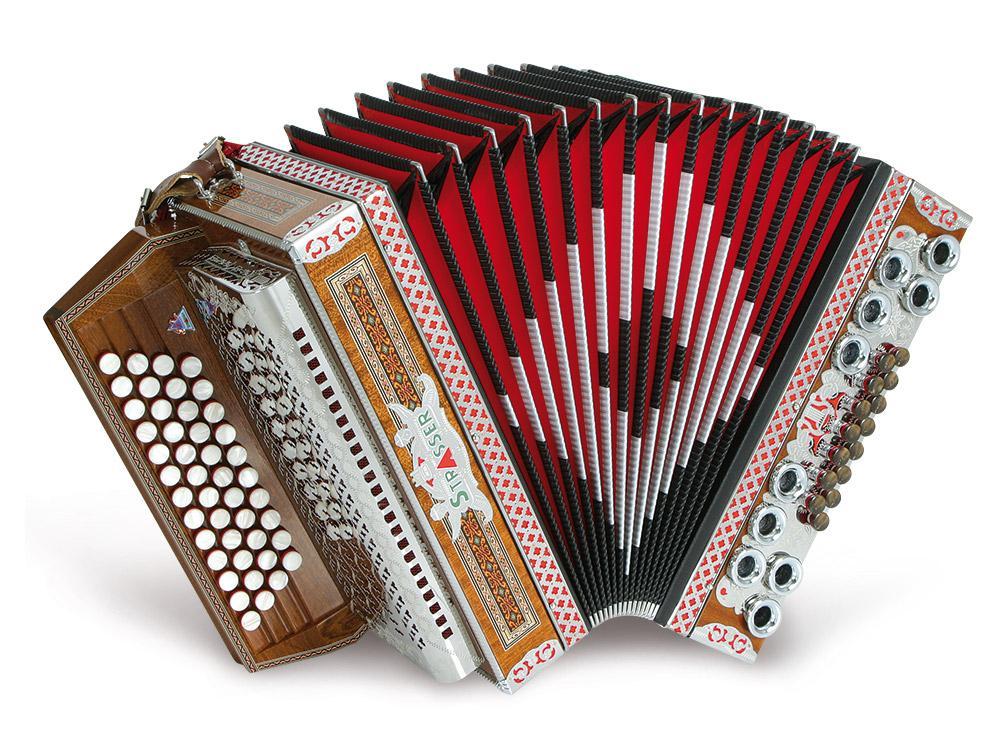 Strasser 4|III De Luxe Harmonika 4 reihig, 3 chörig G C F B, mit X Bass, Mahagoni|Schwarz