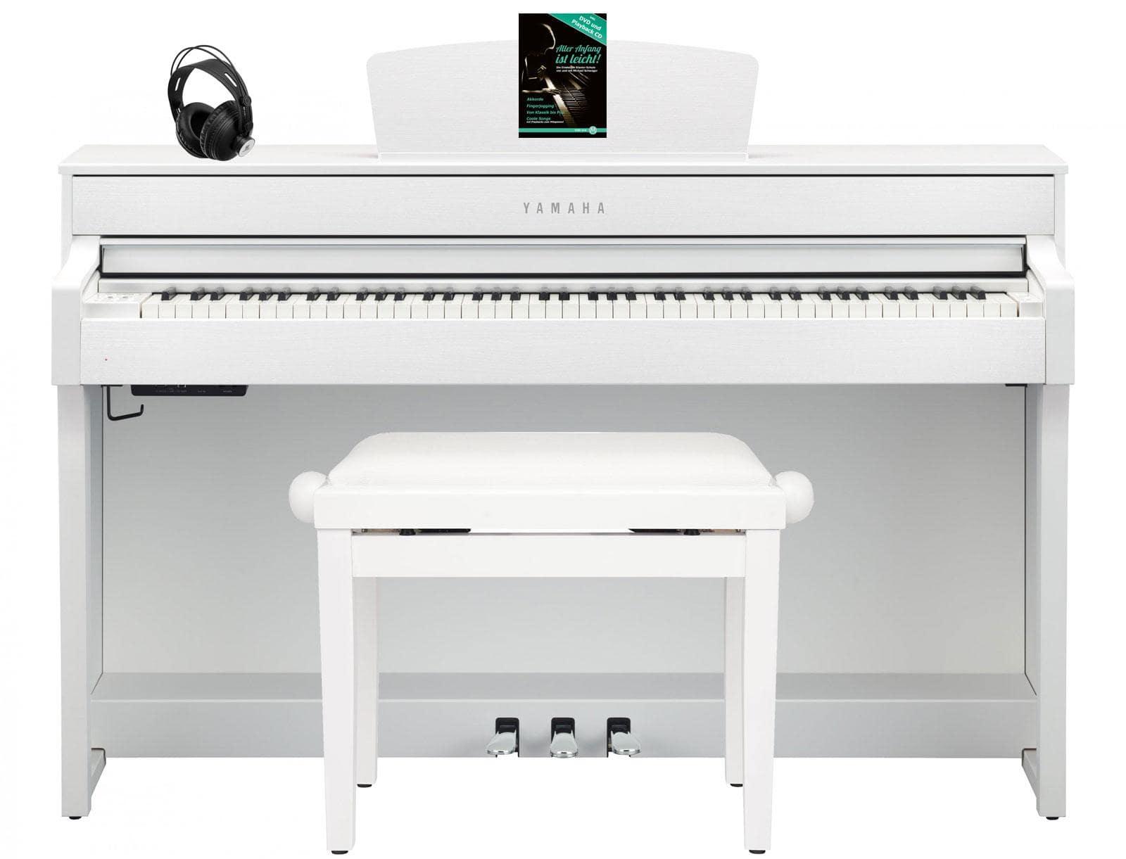 Yamaha CLP 635 WH Digitalpiano Weiß matt SET mit Kopfhörer, Bank, Schule