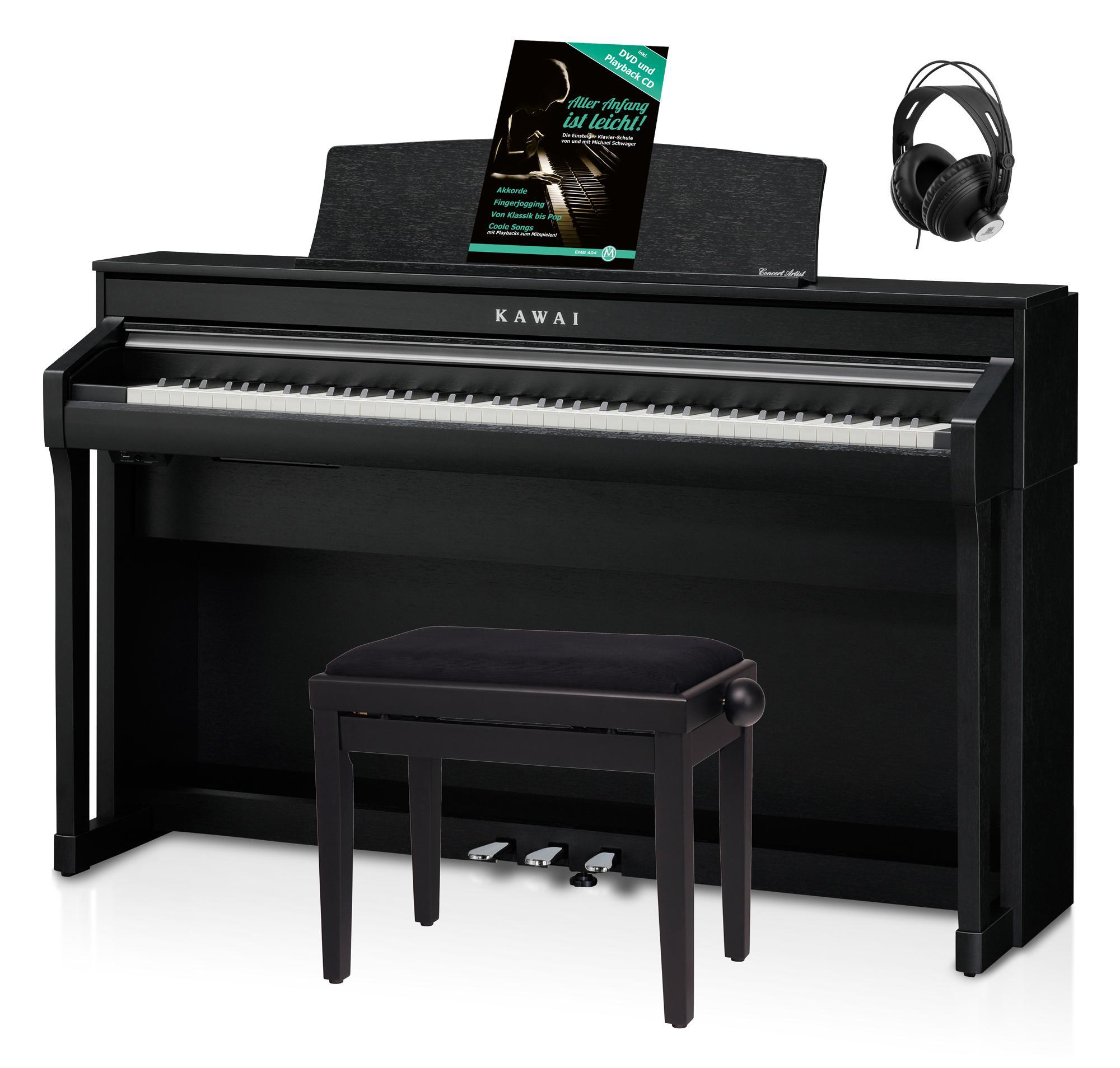 Kawai CA 78 B Digital Piano Schwarz Set inkl. Pianobank, Kopfhörer Schule
