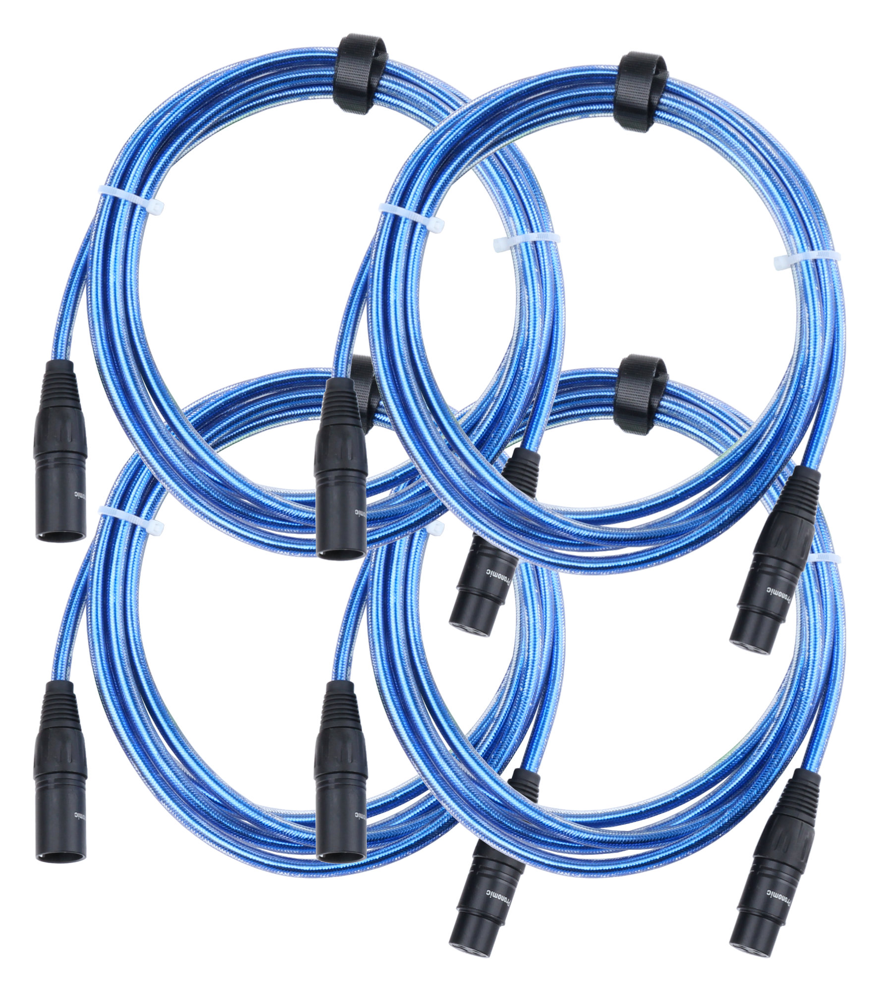4er Set Pronomic Stage XFXM Blue 2.5 Mikrofonkabel XLR 2,5 m Metallic Blue