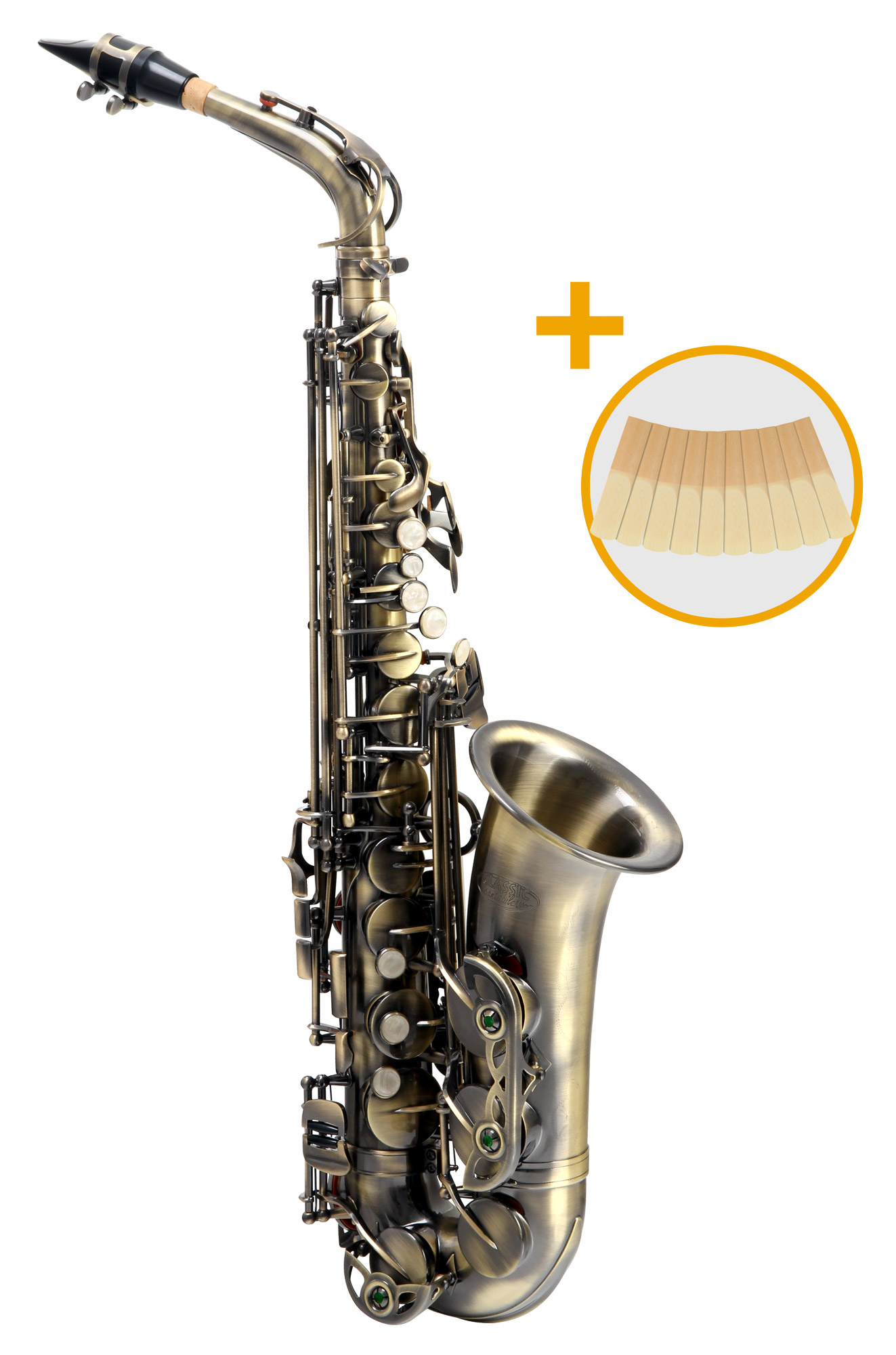 Saxophone - Classic Cantabile AS 450 Antique Yellow Es Altsaxophon Set - Onlineshop Musikhaus Kirstein