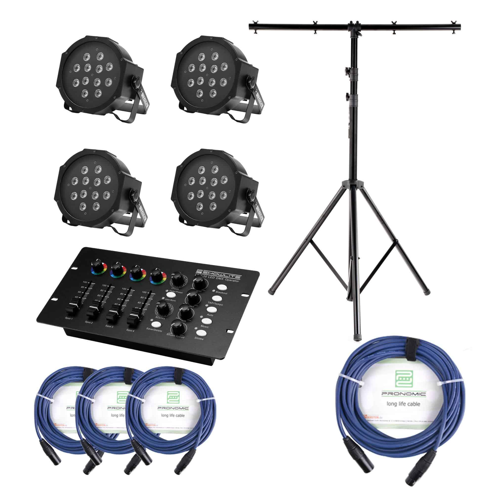 Showlite FLP 12x1W Scheinwerfer 4 x Set inkl. DMX Controller, Stativ Kabel