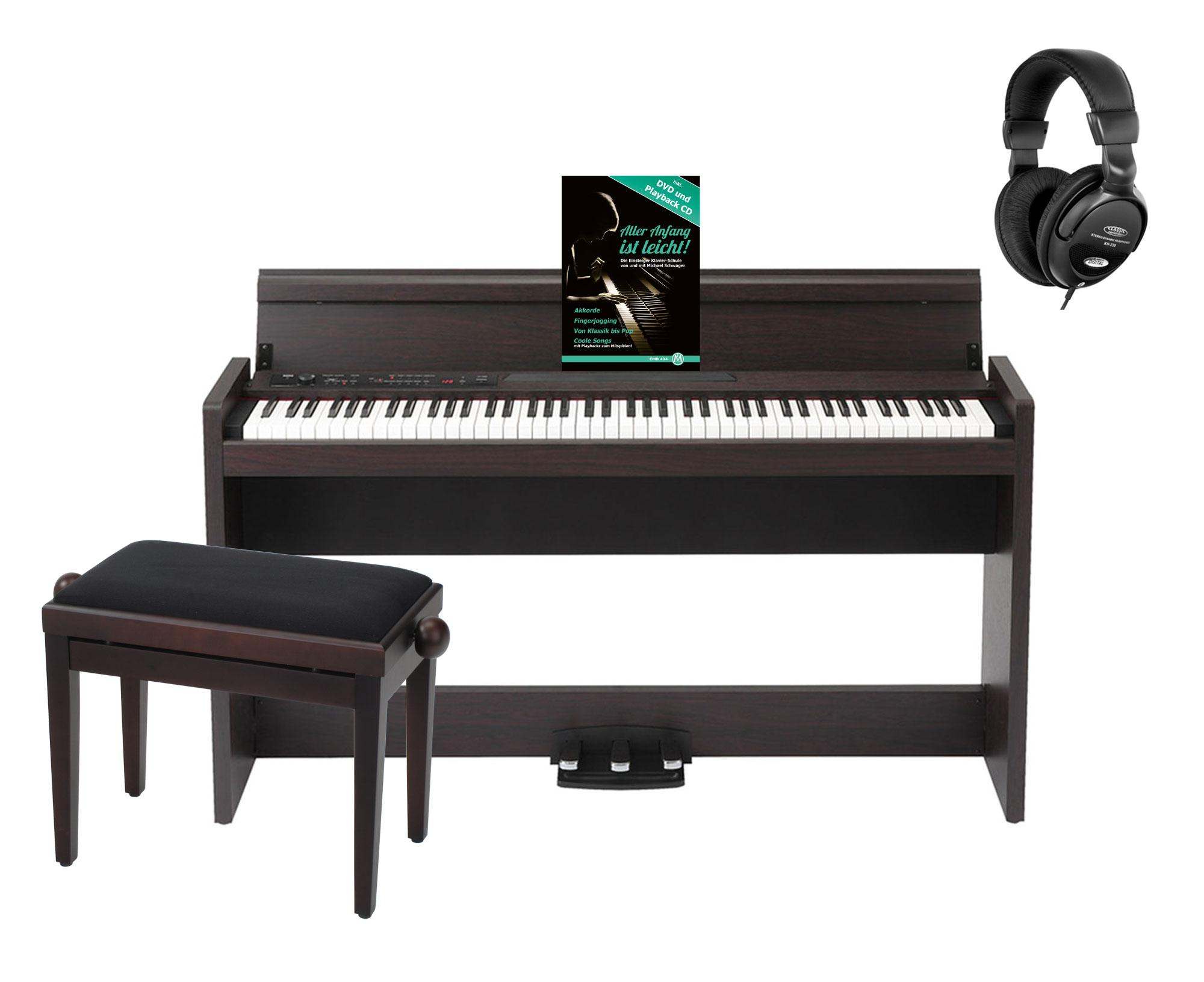 Korg LP 380 RW Digitalpiano Rosenholz SET mit Bank, Kopfhörer und Noten