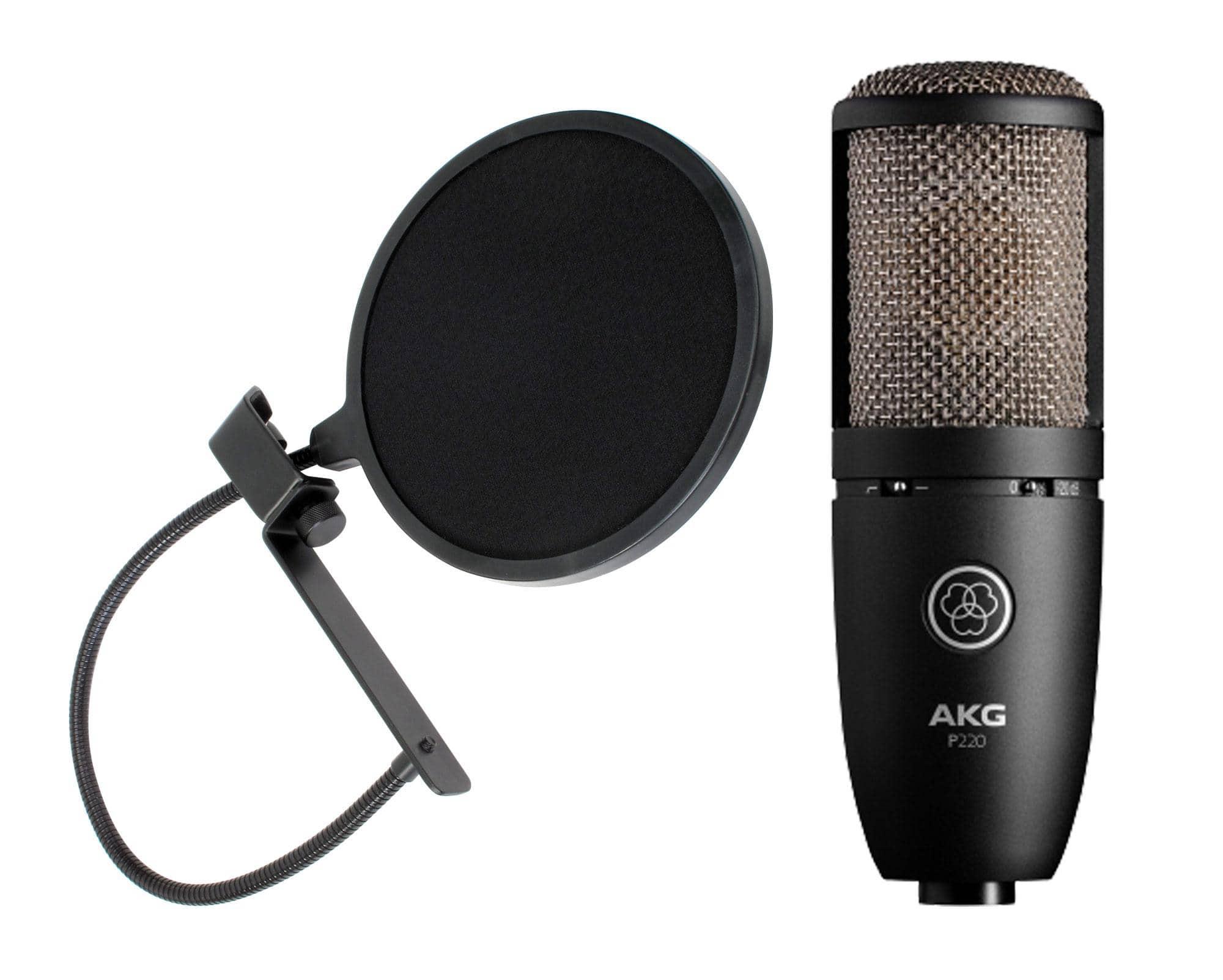 Mikrofone - AKG P 220 Großmembran Mikrofon Set Popkiller - Onlineshop Musikhaus Kirstein