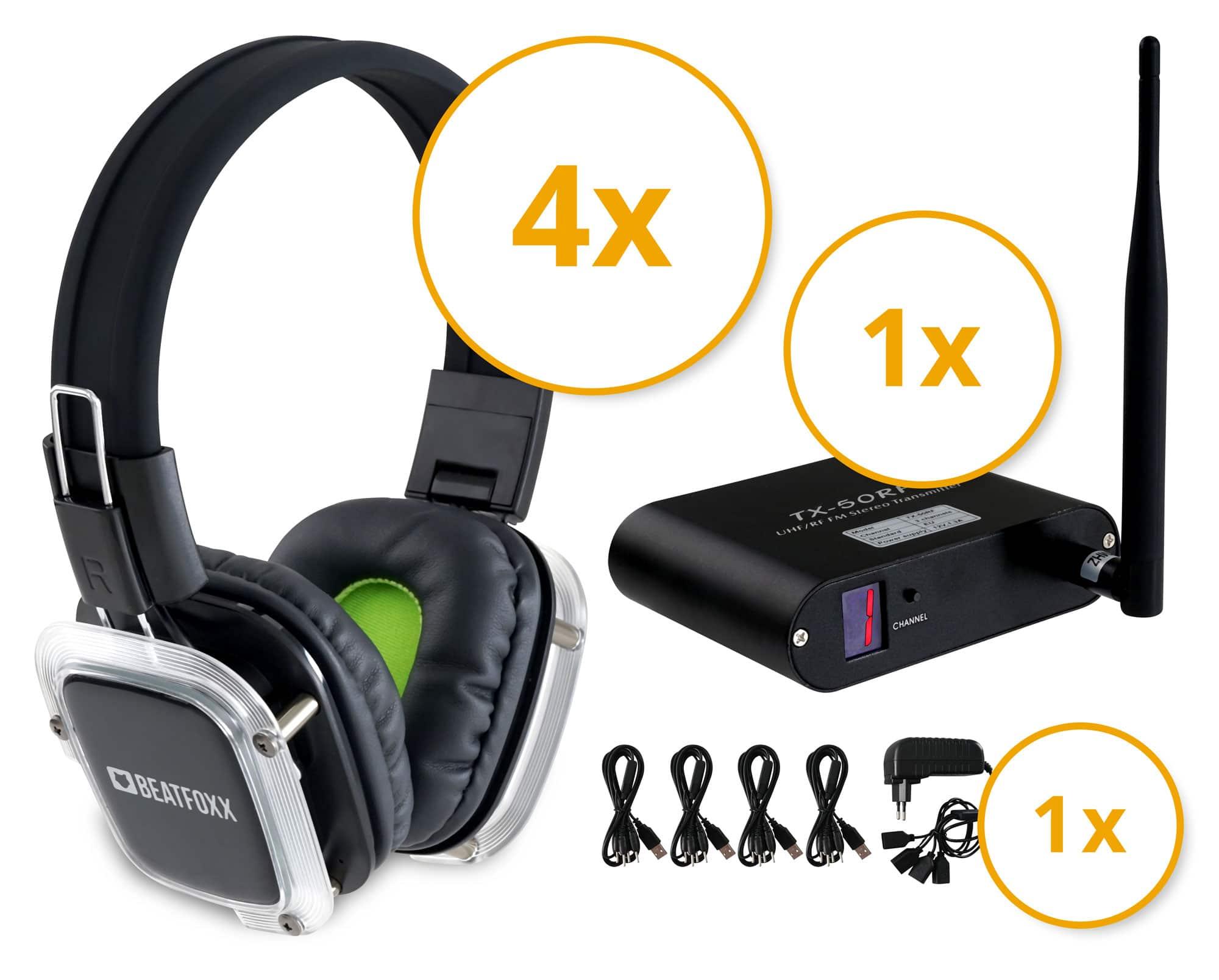Beatfoxx SDBS 41 Silent Disco Band Set mit 4 Kopfhörern und 1 Sender