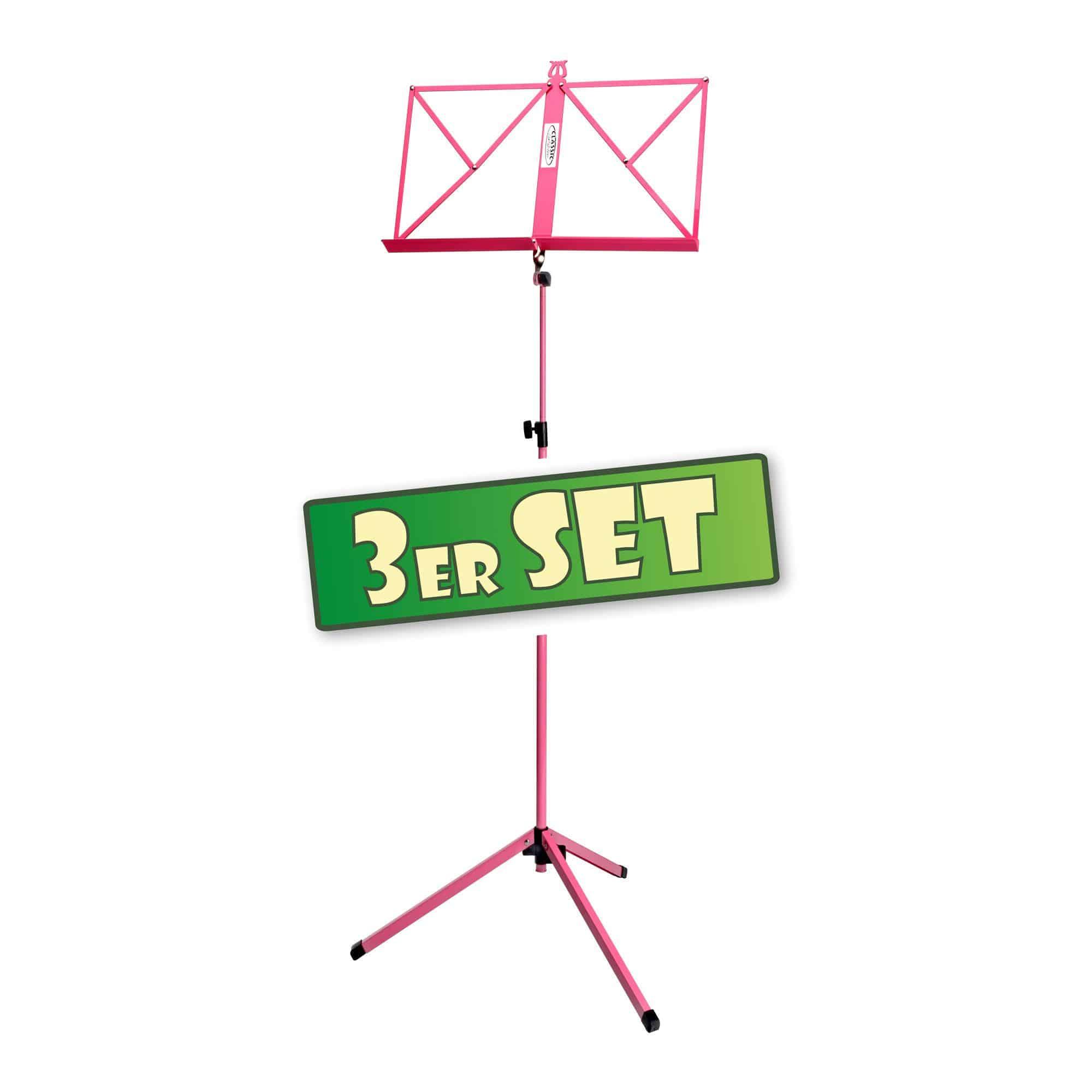 3er Set Classic Cantabile 100 Notenständer mittelschwer Pink