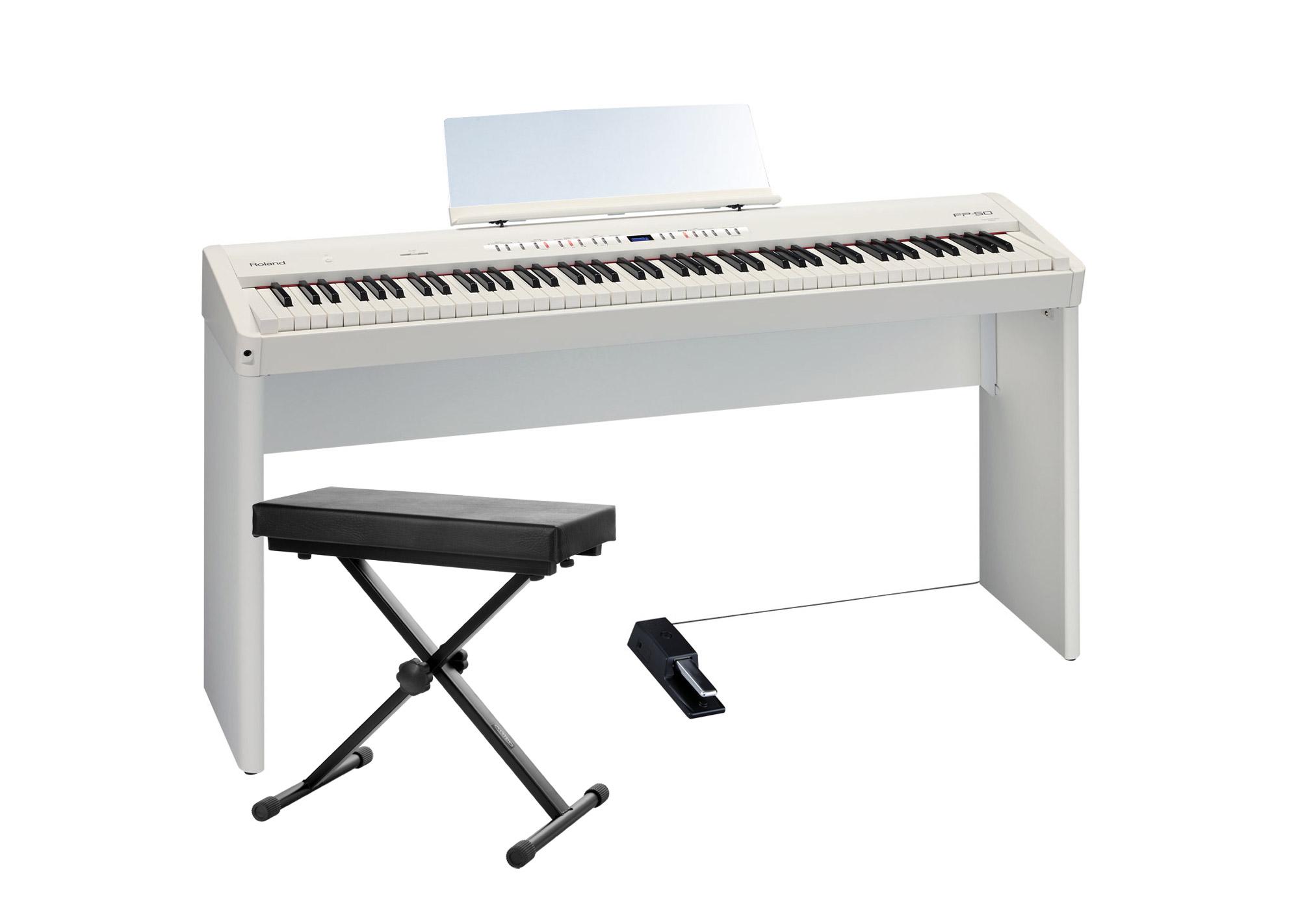 Roland FP 50 WH Stagepiano SET mit Pianoständer und Bank