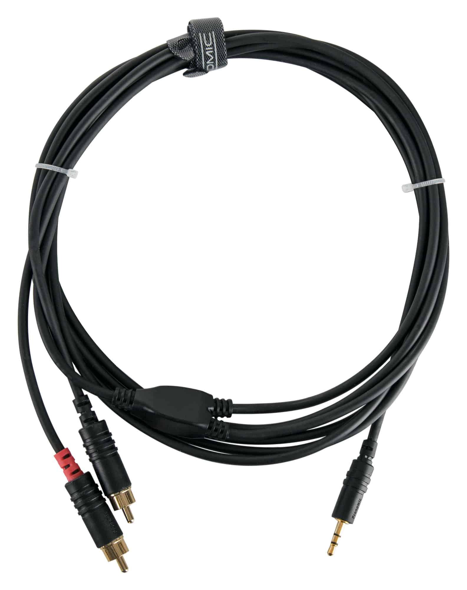 Pronomic Stage J3RC 3m Audiokabel 3,5mm Stereo Klinke Cinch 3m schwarz