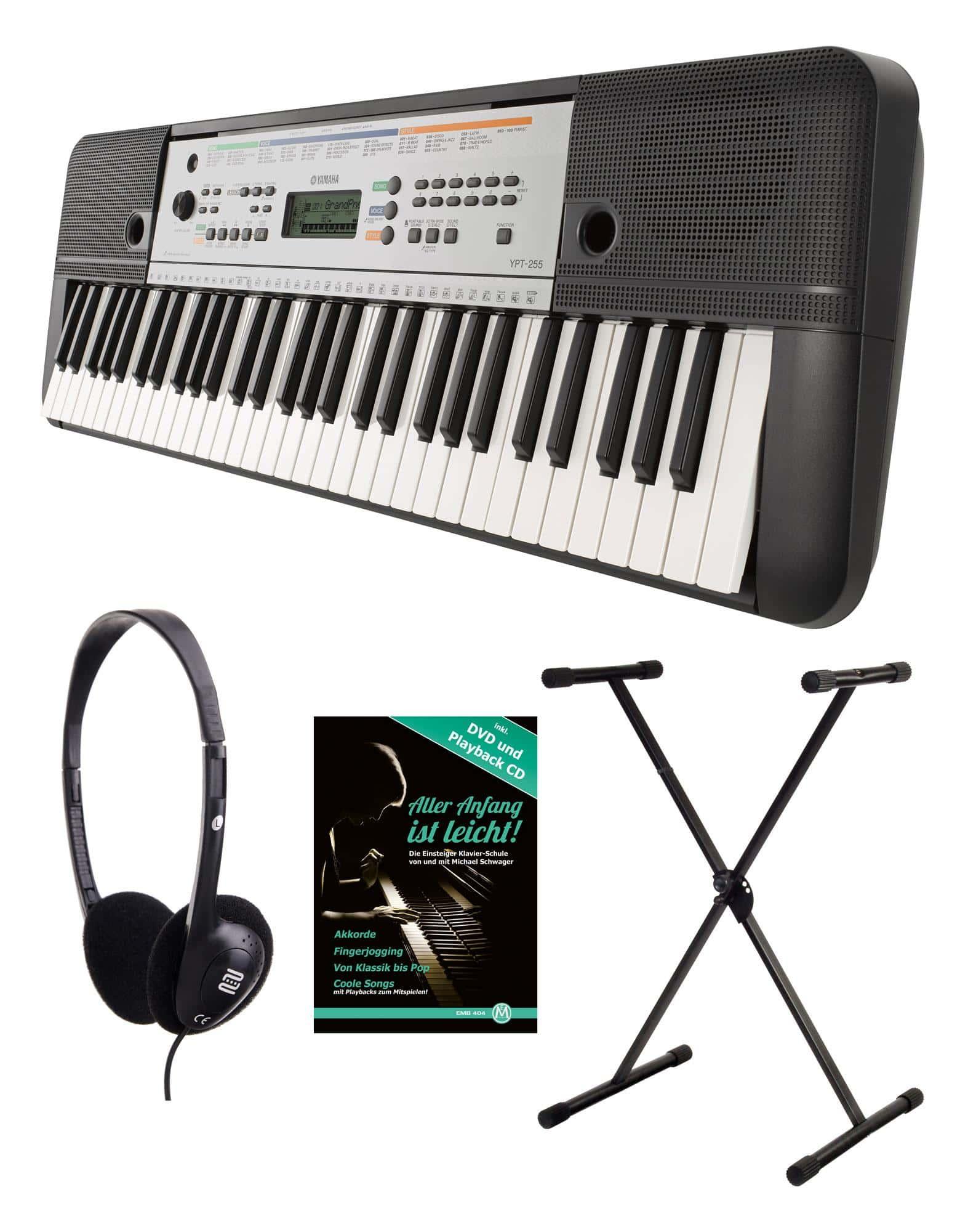Yamaha YPT-255 Keyboard SET mit Ständer, Kopfhörer & Schule SYPT255 Set