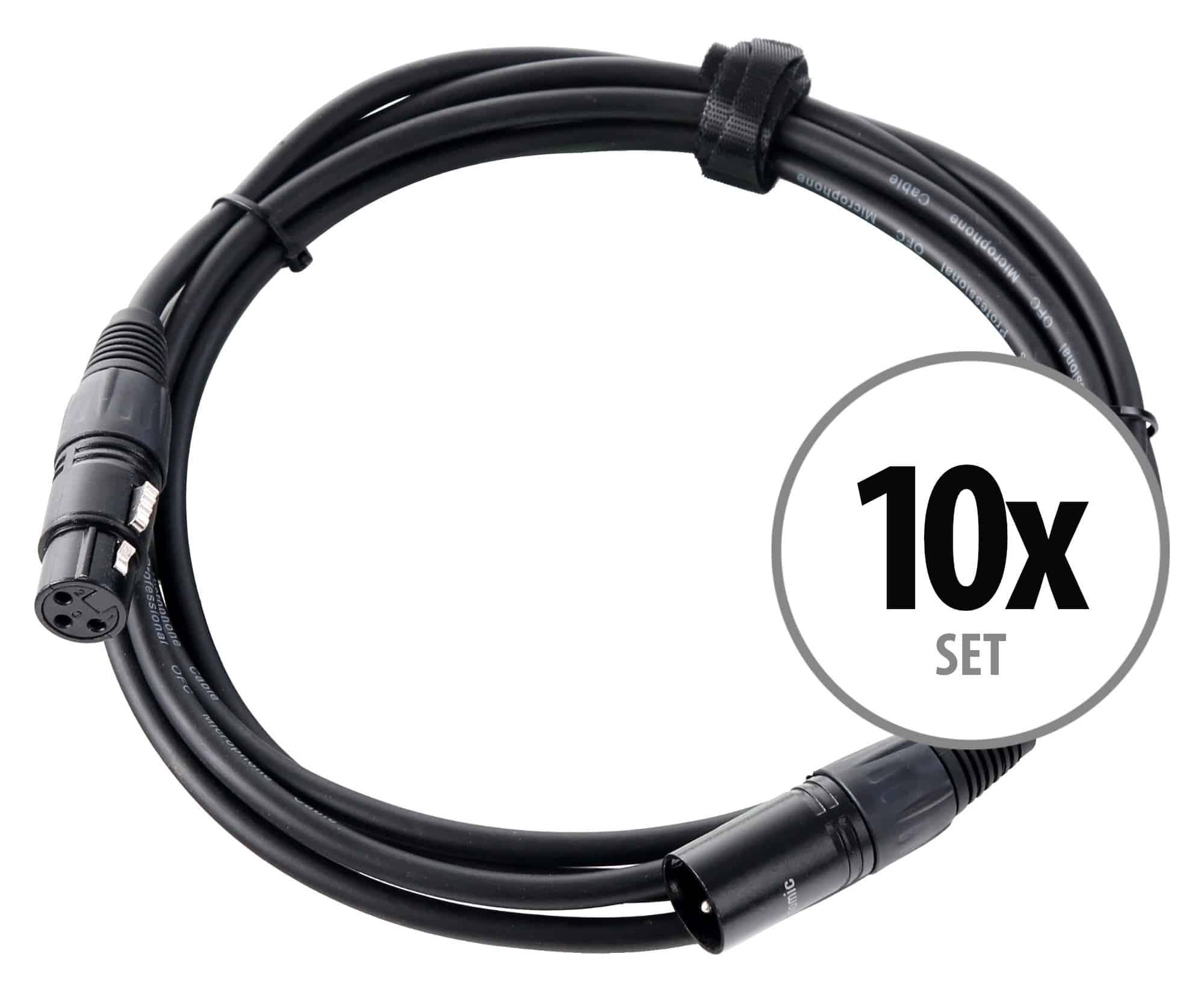 10er Set Pronomic Stage XFXM 2.5 Mikrofonkabel XLR 2,5 m Schwarz