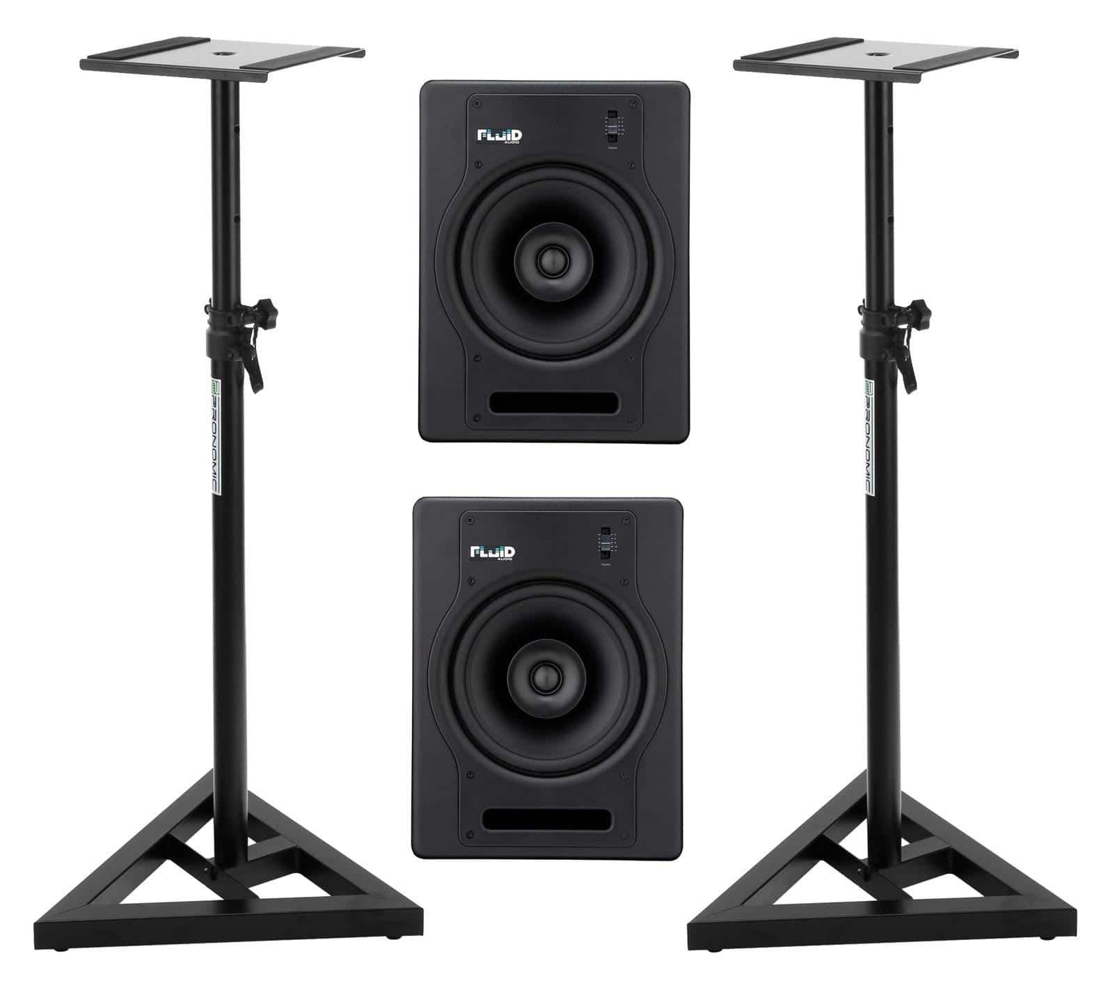 Fluid Audio FX8 Aktiv Studiomonitor Stativ Set