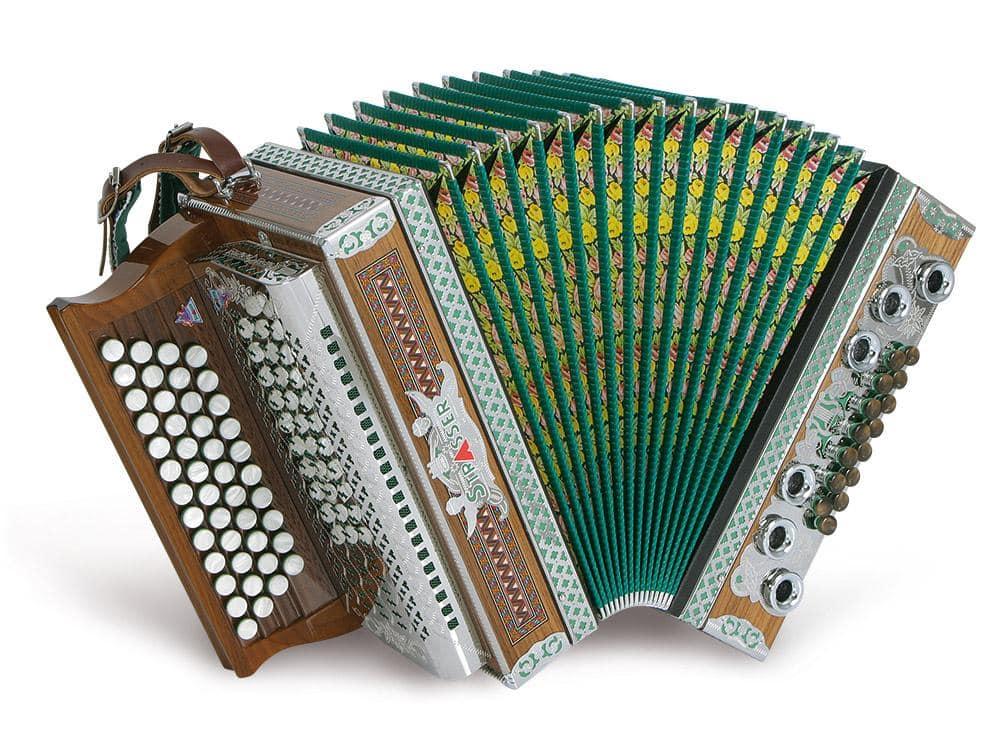 Strasser 4/III Professional Harmonika 4-reihig, 3-chörig G-C-F-B mit X-Bass, Nussholz/Grün