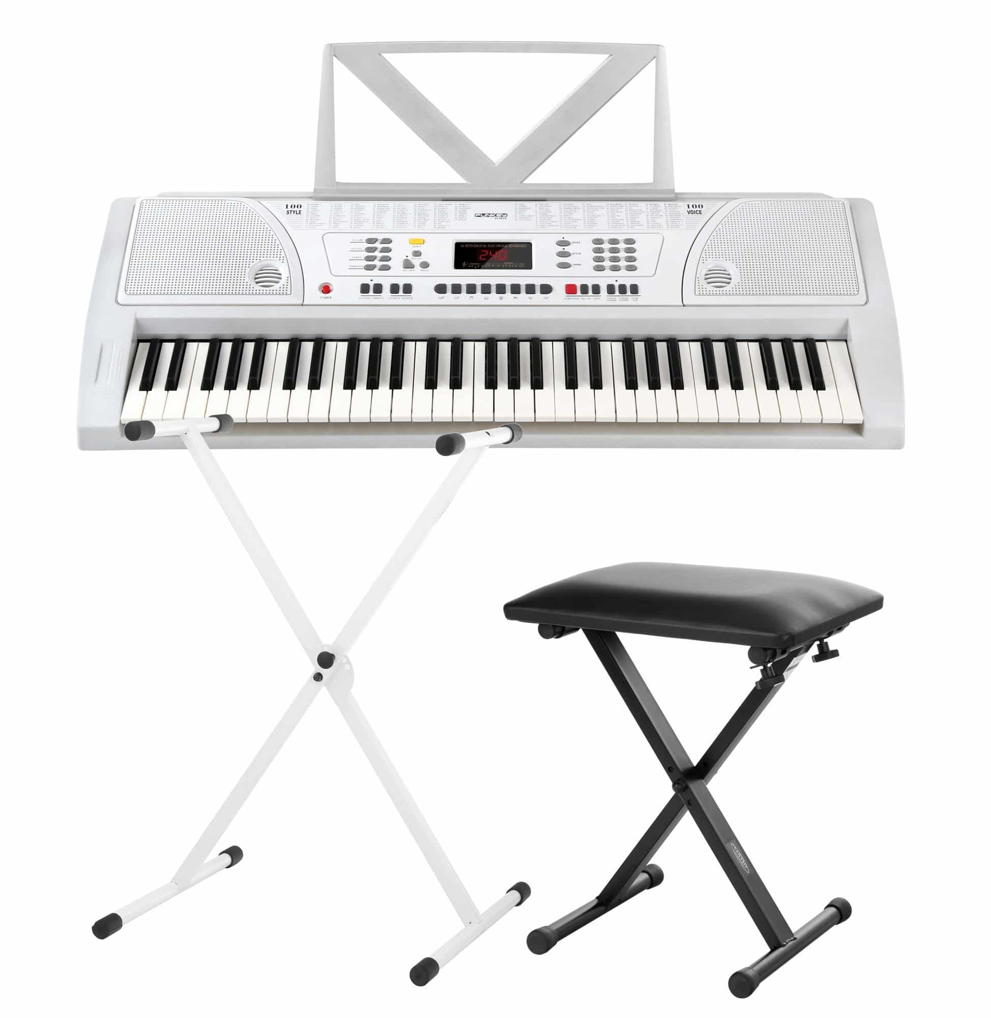Funkey 61 keyboard set white incl keyboard stand and Keyboard stand and bench