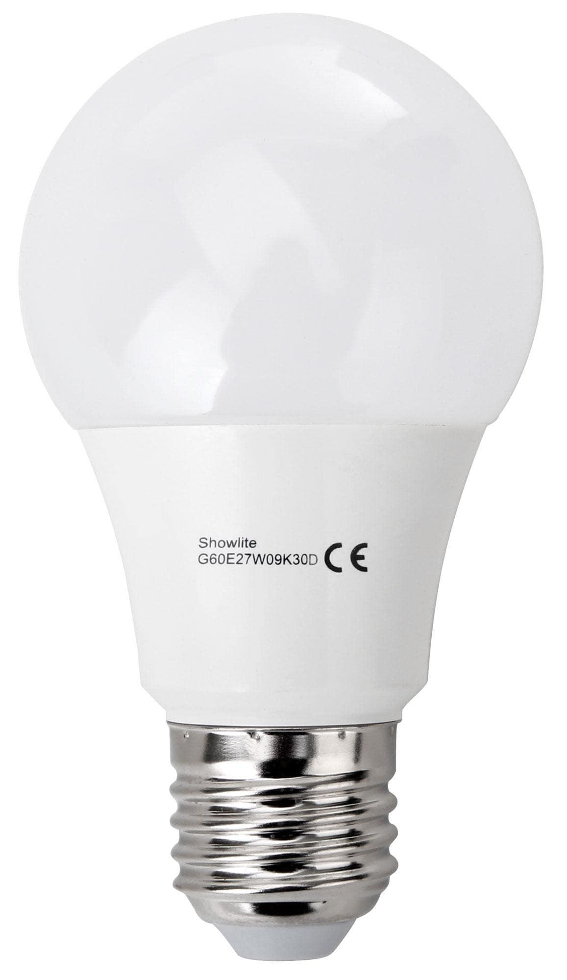 showlite led bulb g60e27w09k30d 9 watt 860 lumen e27 socket 3000 kelvin dimmable. Black Bedroom Furniture Sets. Home Design Ideas