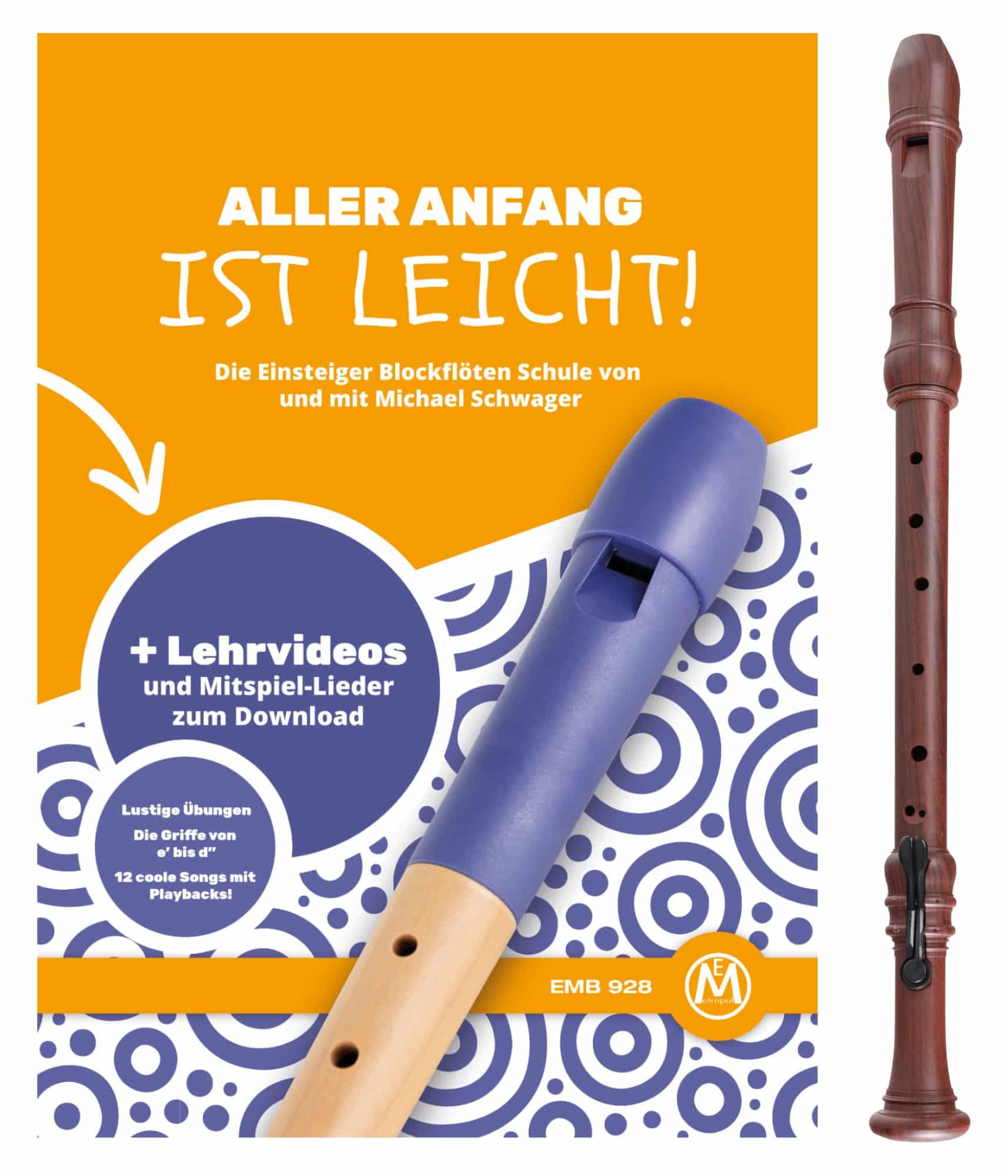 Classic Cantabile Bellissima Tenorblockflöte Kunststoff in Holzoptik mit Schule
