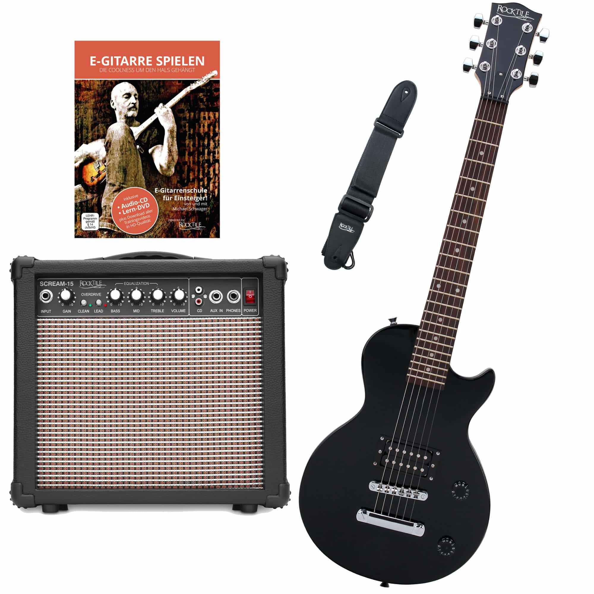 Rocktile L 50B Junior 3 4 Mensur E Gitarre SET mit Verstärker, Gurt und Kabel