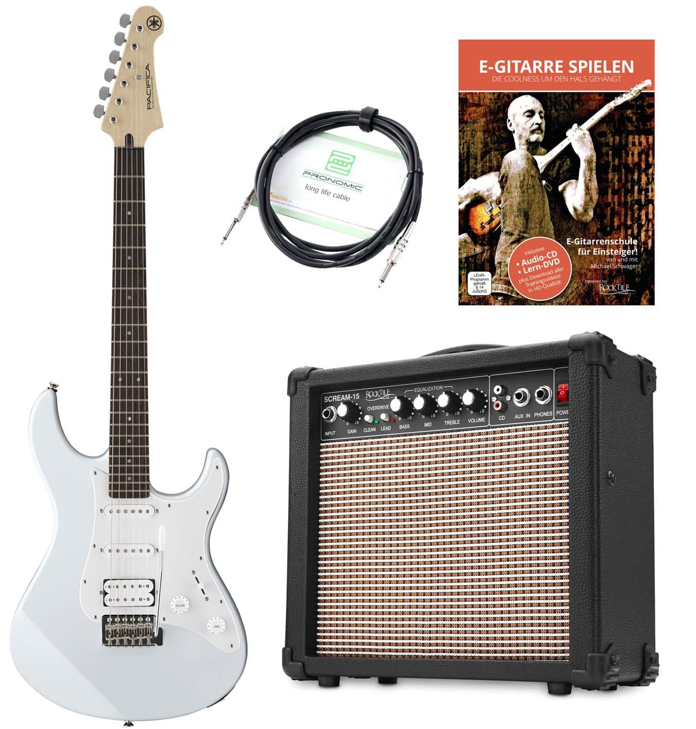 Egitarren - Yamaha Pacifica 012 VW E Gitarre Set inkl. Amp Kabel E Gitarrenschule Weiß - Onlineshop Musikhaus Kirstein