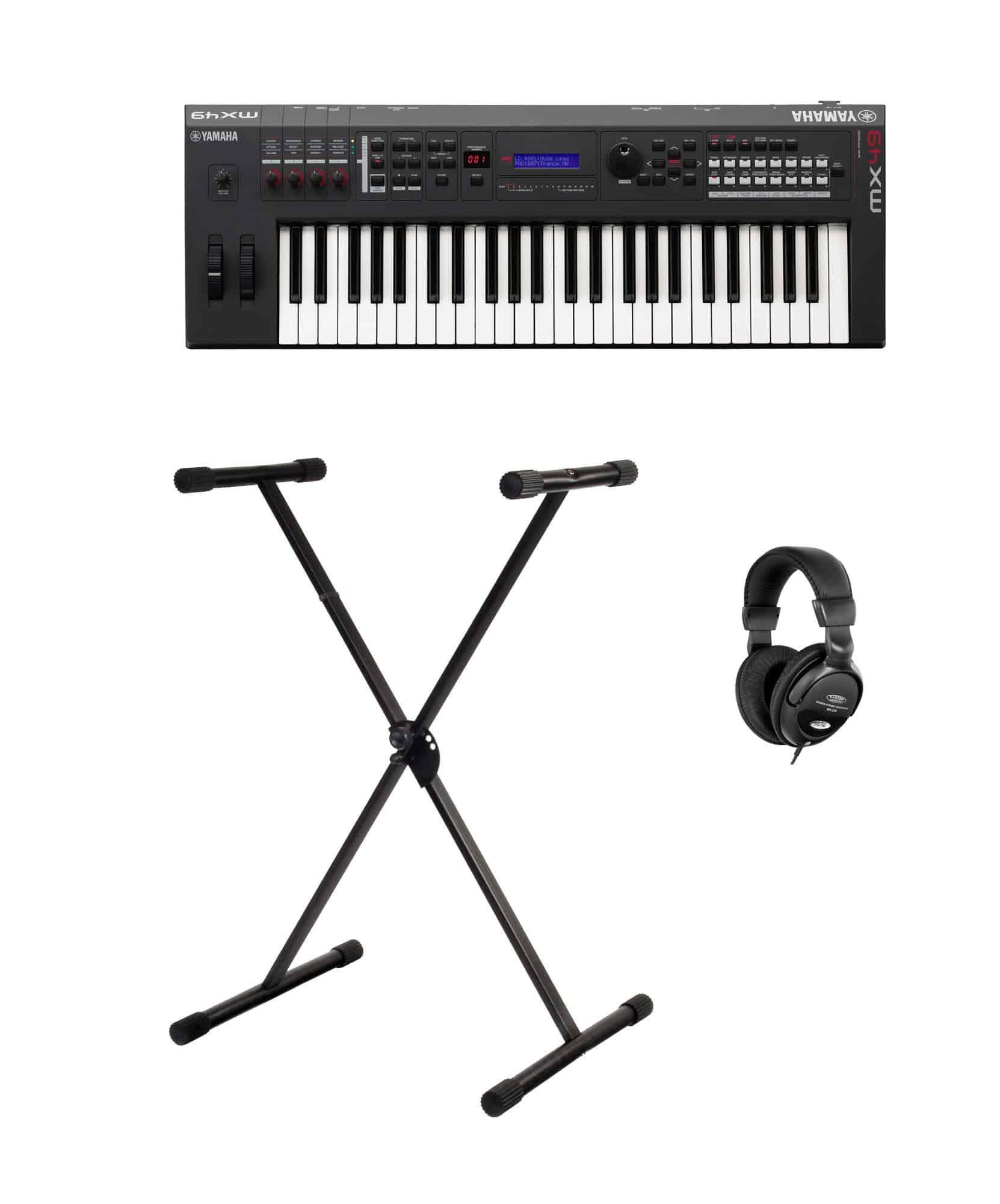 Yamaha MX49 II Music Synthesizer schwarz SET mit Stativ Kopfhörer