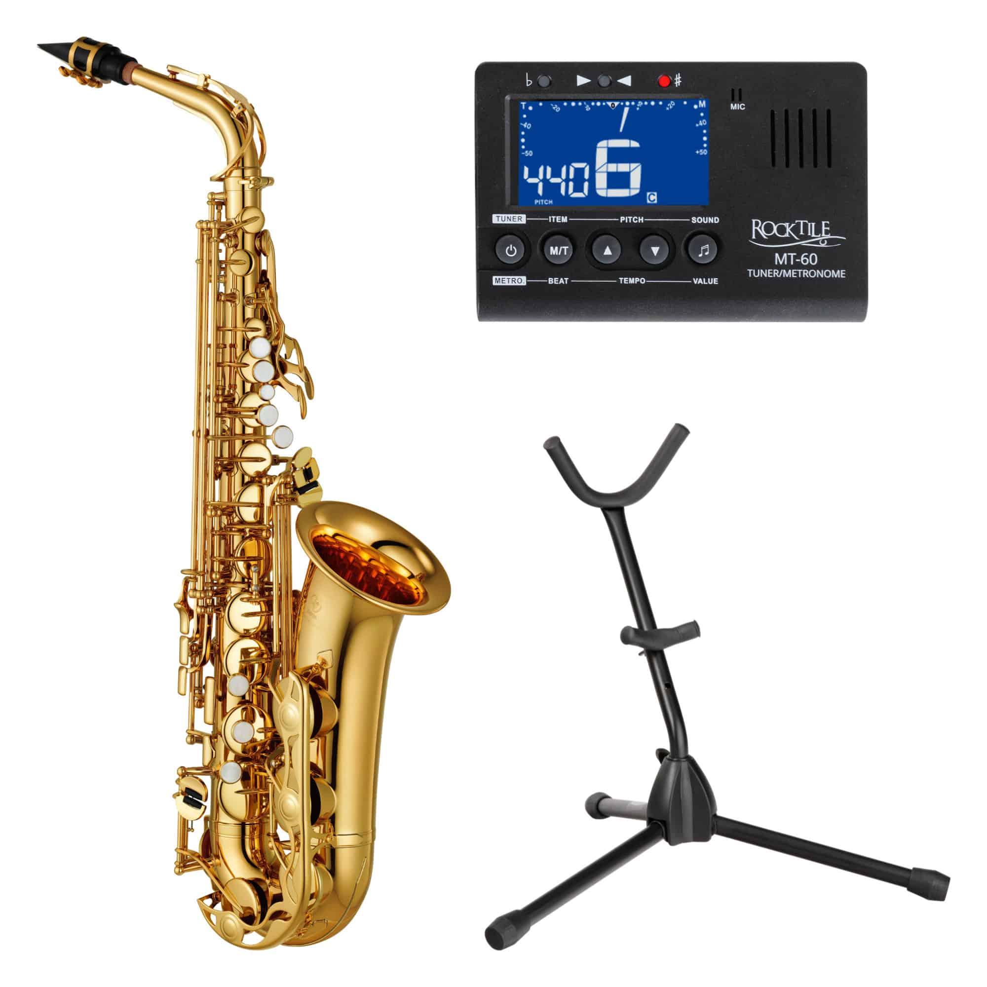 Yamaha YAS 280 Altsaxophon Goldlack Set inkl. Metrotuner und Ständer