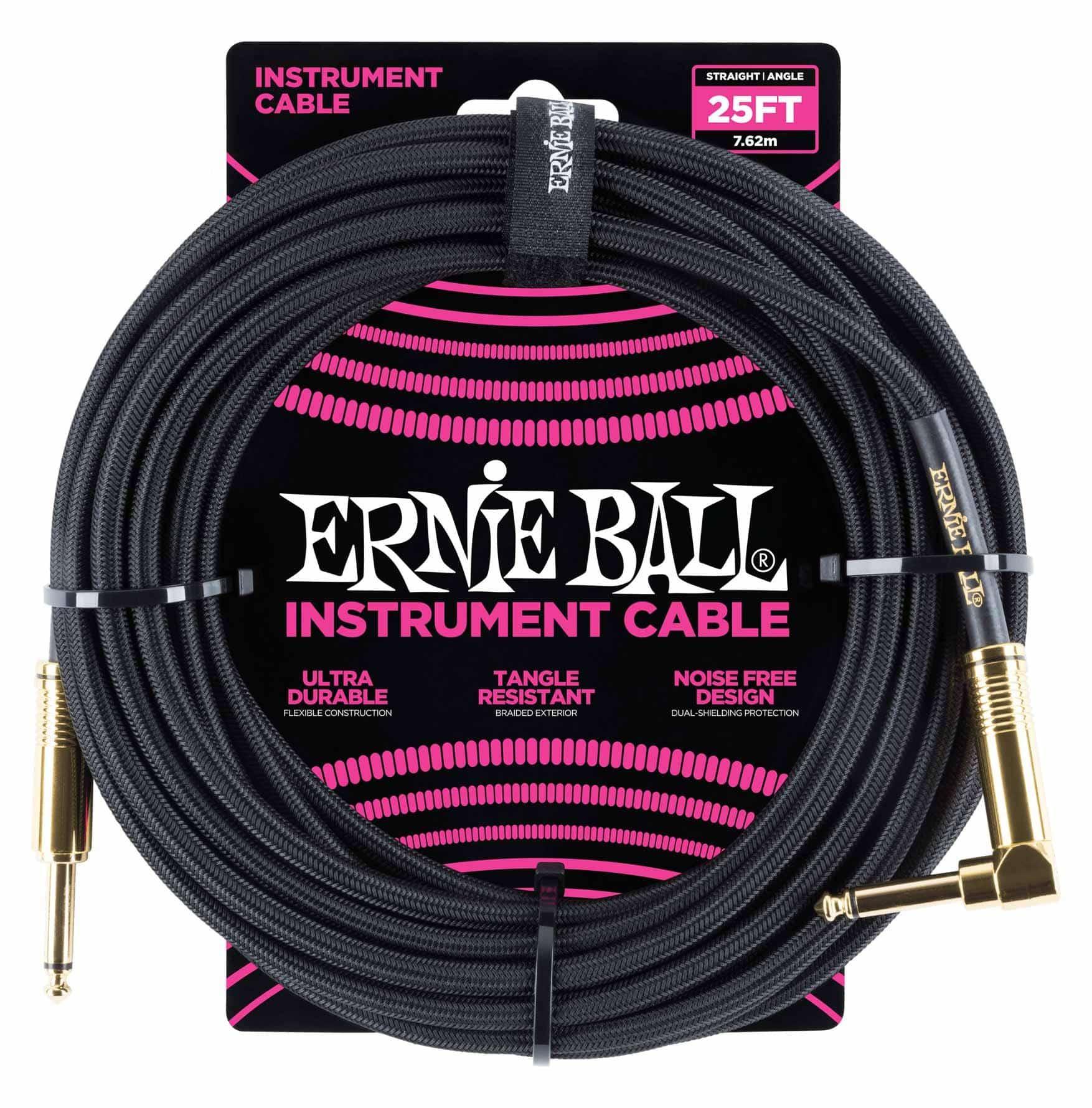 Ernie Ball 6058 Instrumentenkabel 7,62 m Schwarz