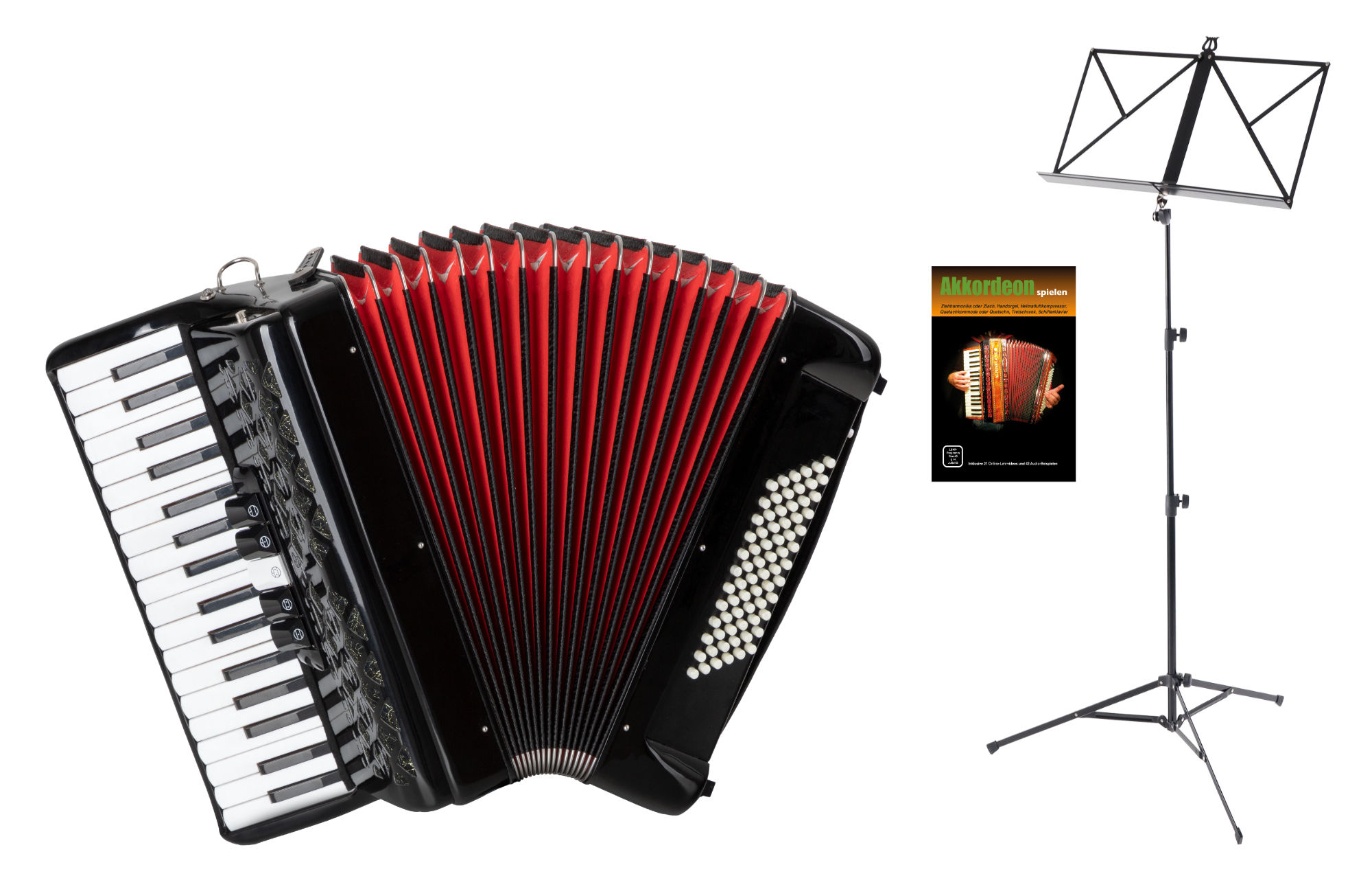 Akkordeons - Classic Cantabile 72 Bass Akkordeon 'Secondo V' Set Schwarz - Onlineshop Musikhaus Kirstein