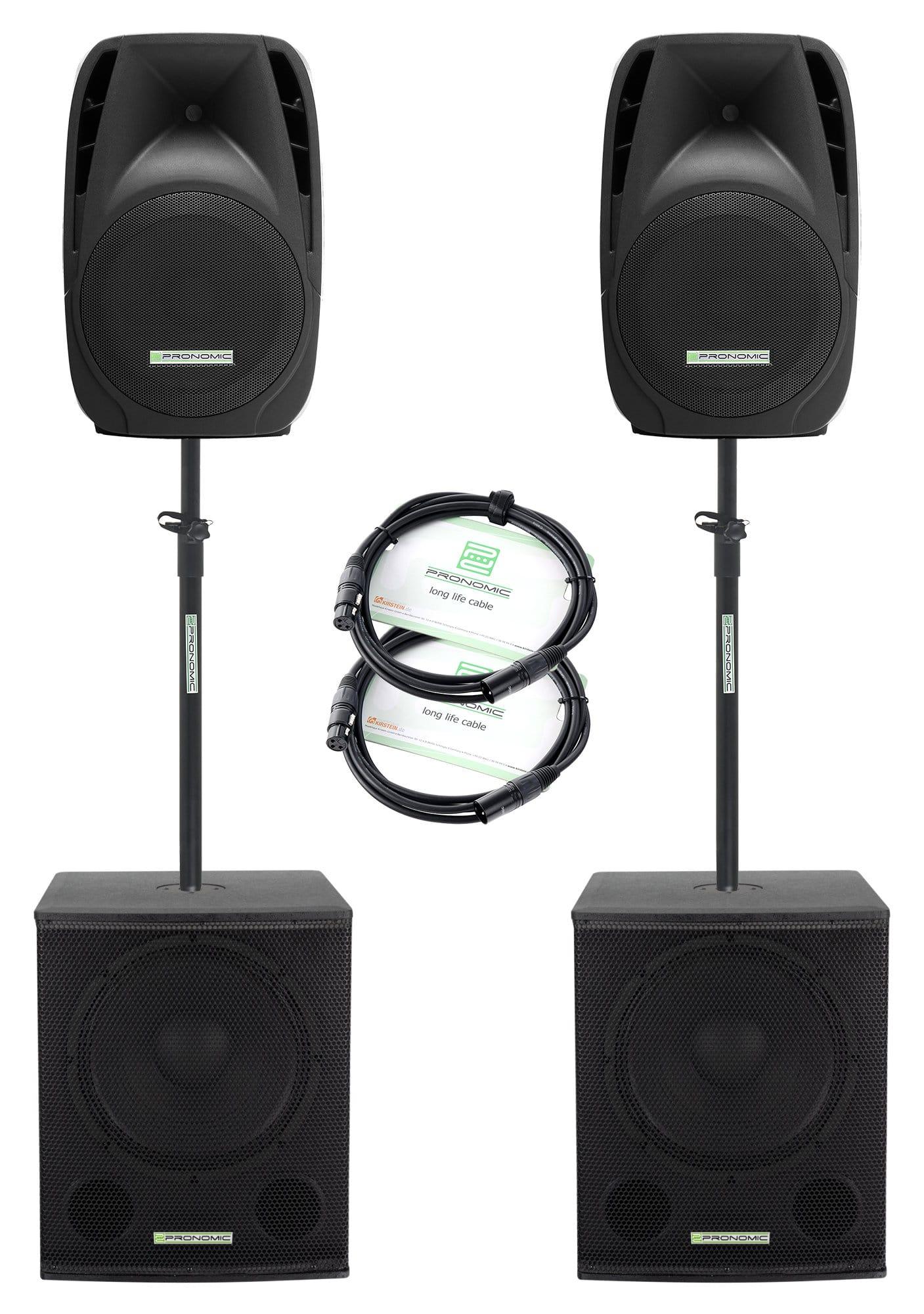 Boxenkomplettanlagen - Pronomic 215S 212A Aktive PA Anlage 1000 Watt - Onlineshop Musikhaus Kirstein