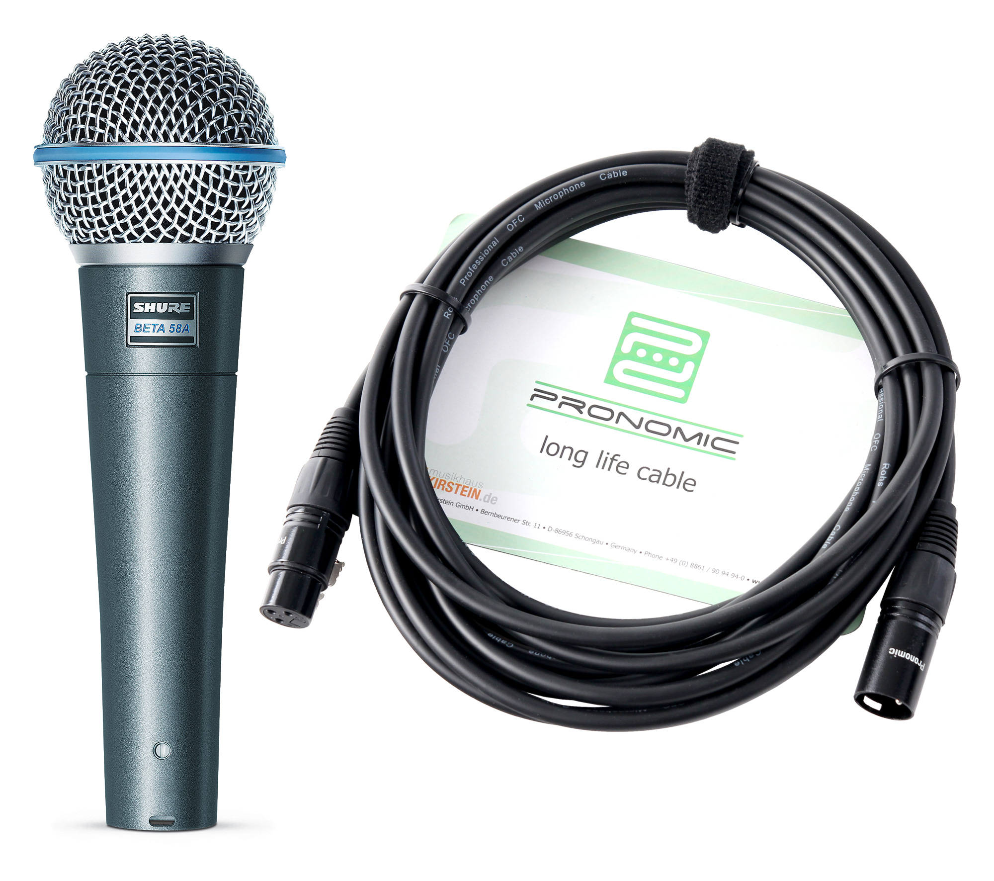 Shure Beta 58A Mikrofon Set Kabel