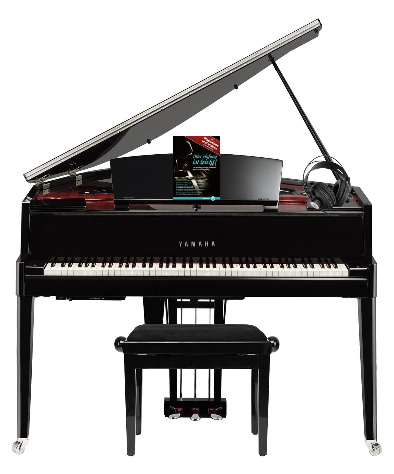 Yamaha N3X Hybrid Digitalflügel schwarz im SET mit Pianobank, Kopfhörer Noten