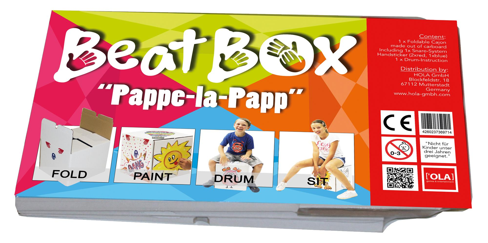 Baff Beatbox Pappe la Papp Cajon aus Karton