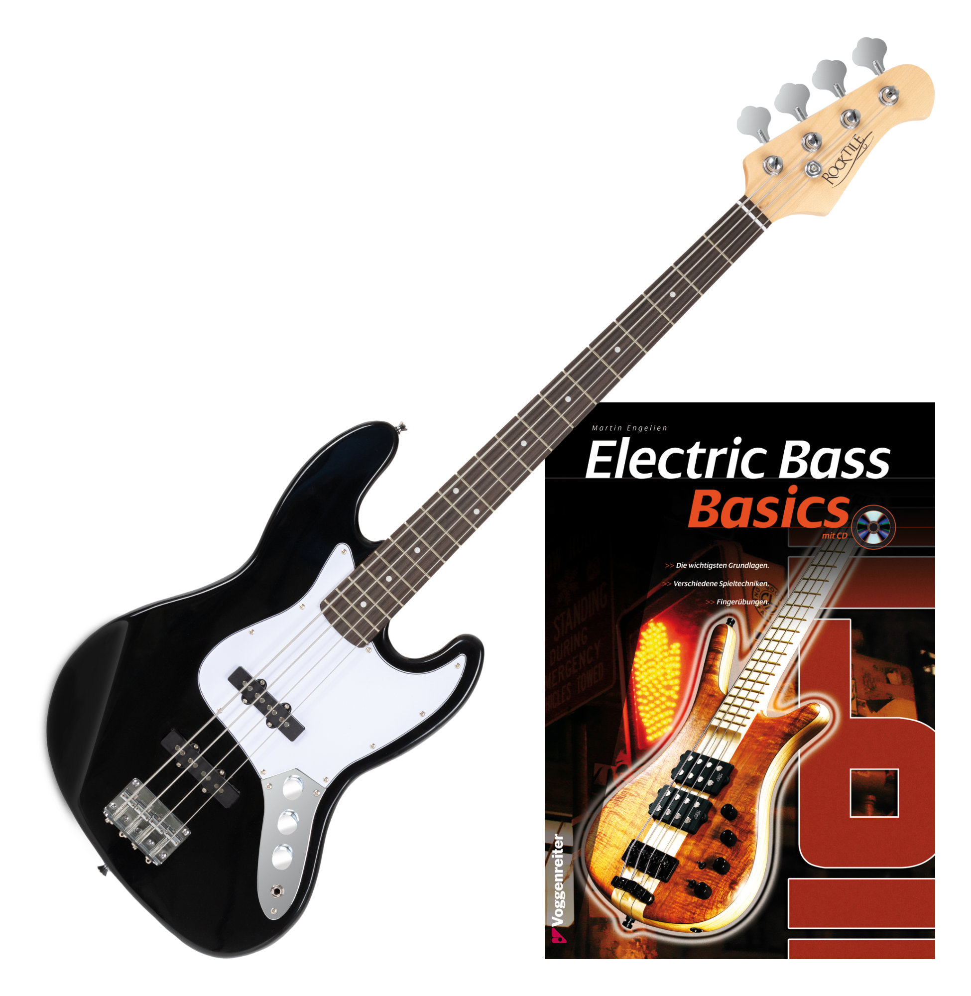 Rocktile Fatboy II E Bass, Schwarz, Set Noten CD