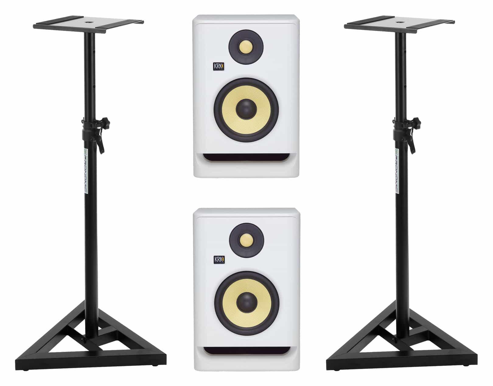Studiomonitore - KRK ROKIT RP5 G4 White Noise Stativ Set - Onlineshop Musikhaus Kirstein