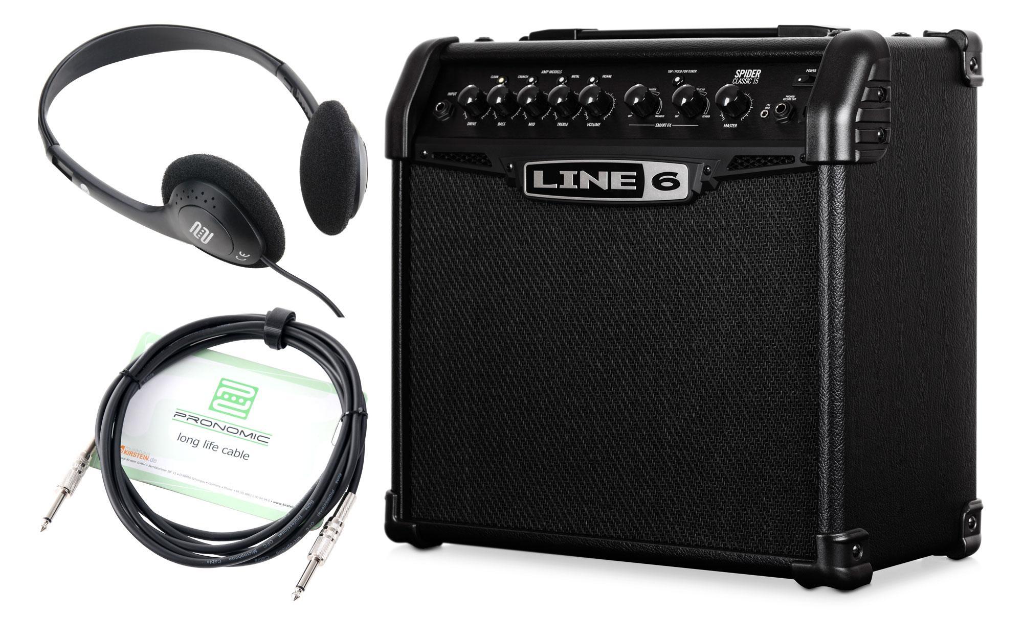 Line6 Spider Classic 15 Verstärker Set mit Kopfhörer und Kabel