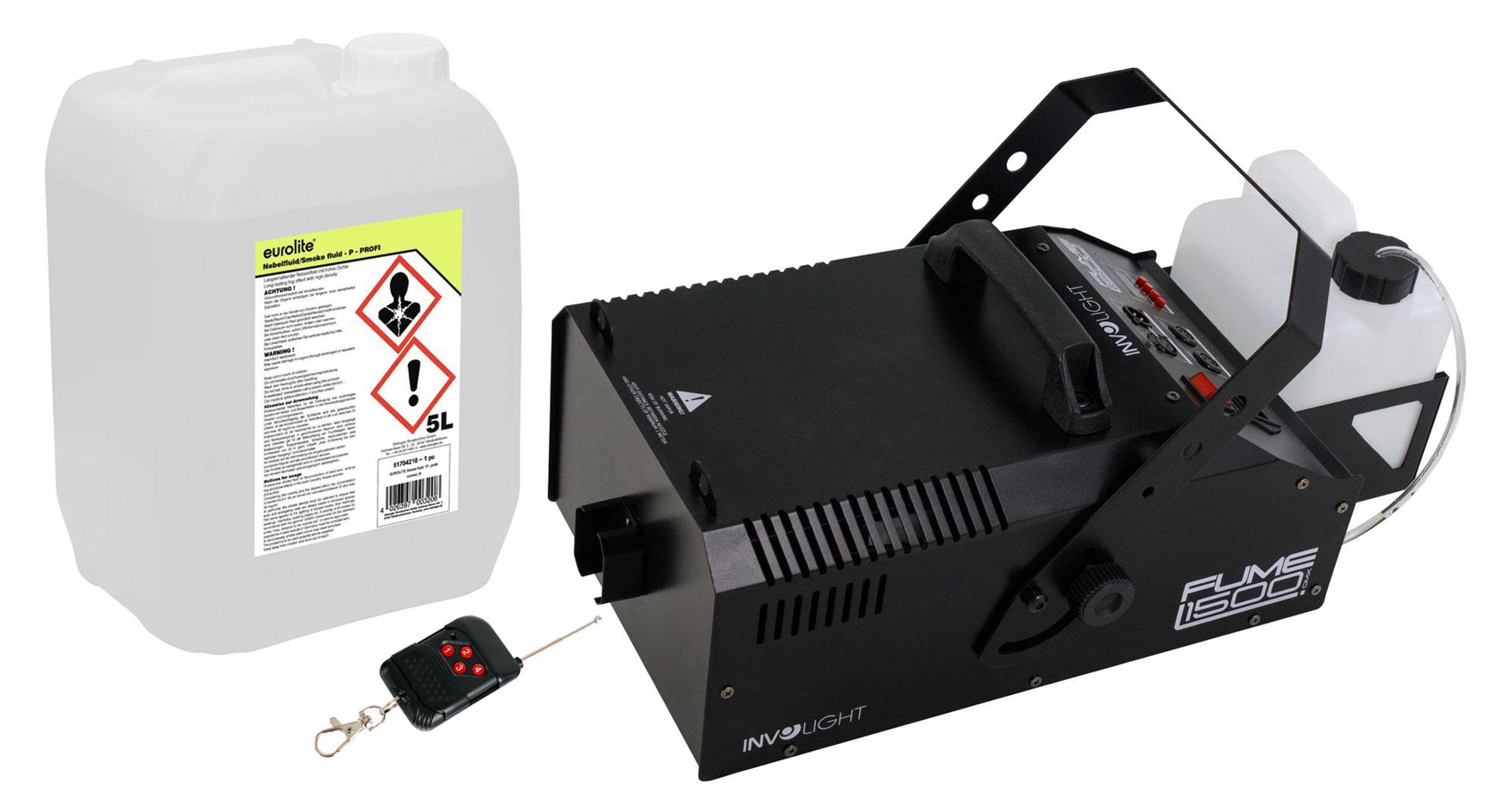 Nebeleffekte - Involight Fume 1500 DMX Nebelmaschinen Set inkl. Smoke Fluid, 5L - Onlineshop Musikhaus Kirstein