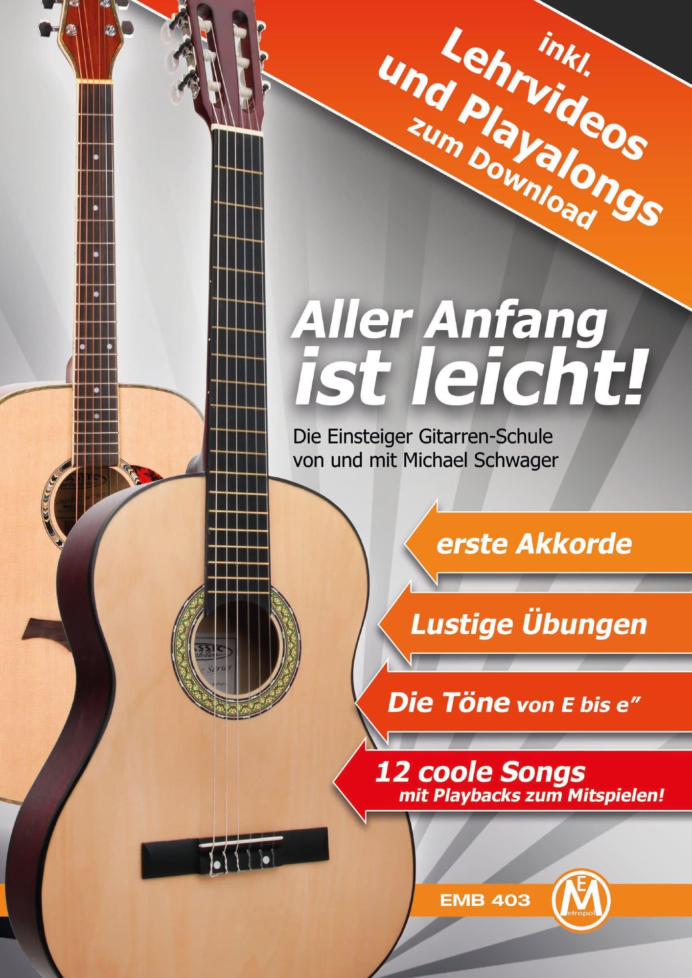 Gitarrelernen - Michael Schwager, Aller Anfang ist leicht, Gitarrenschule DVD und Playback CD - Onlineshop Musikhaus Kirstein