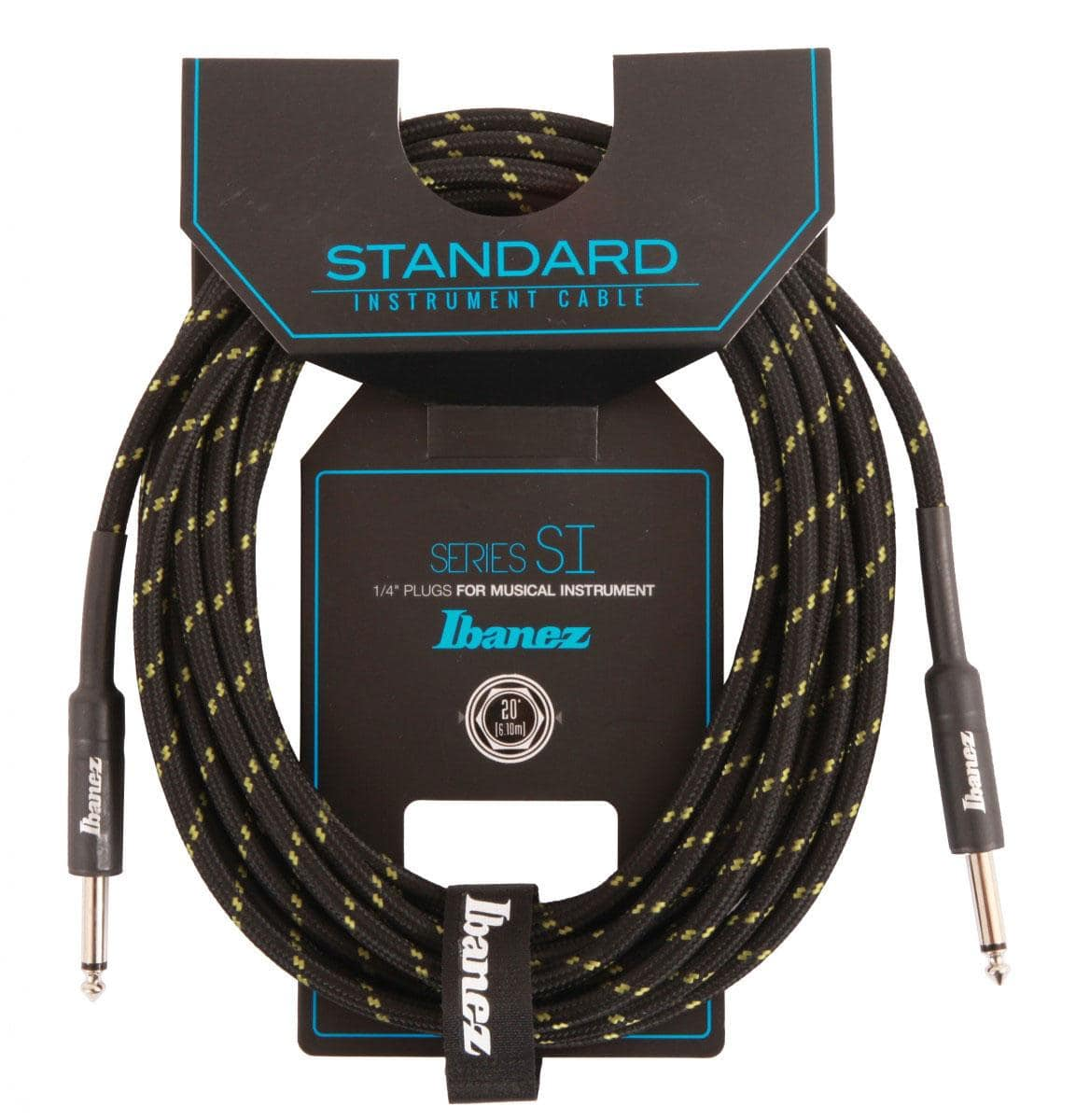 Ibanez SI20 BG Woven Guitar Cable 6,10m Black|Green
