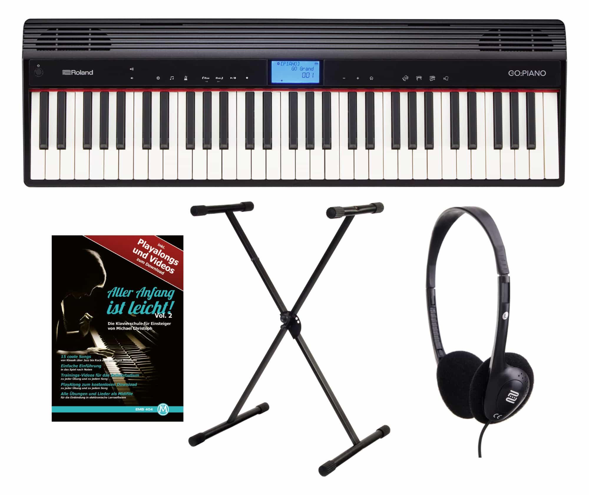 Roland GO PIANO Digitalpiano Set inkl. Keyboardständer, Kopfhörer und Klavierschule