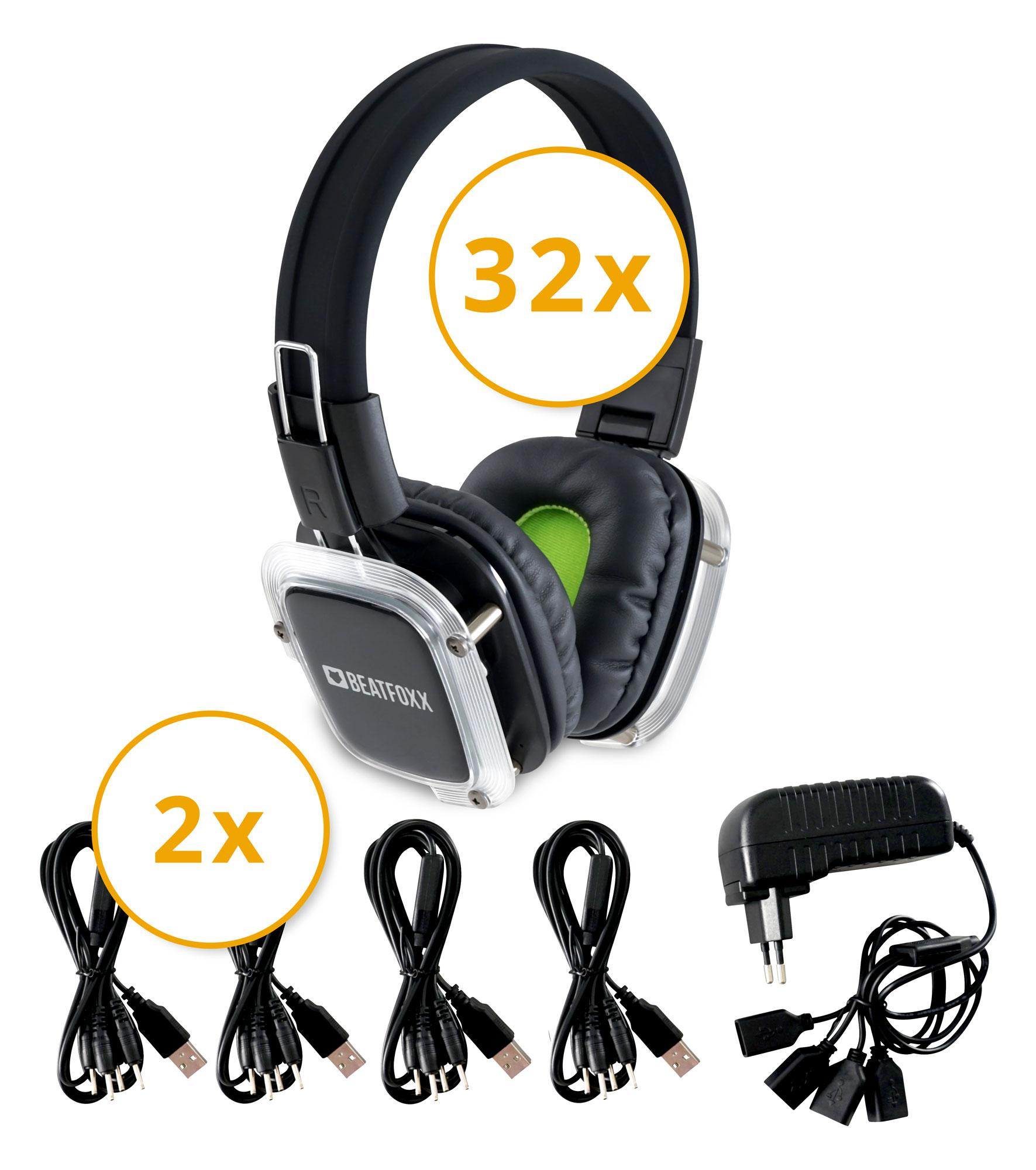 Beatfoxx SDH 300|32 Neonbright Silent Disco Kopfhörer Set Ladegeräte