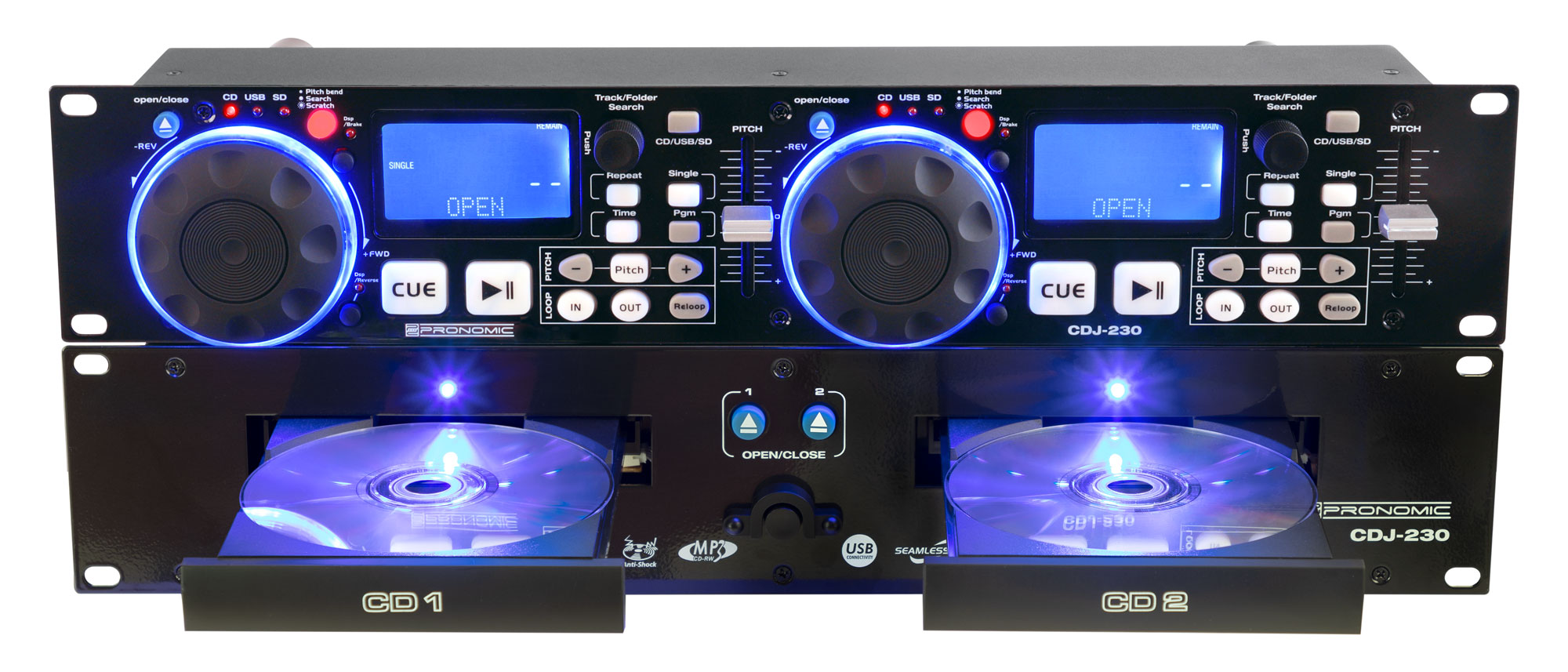 Cdplayer - Pronomic CDJ 230 Doppel DJ CD Player mit USB SD - Onlineshop Musikhaus Kirstein