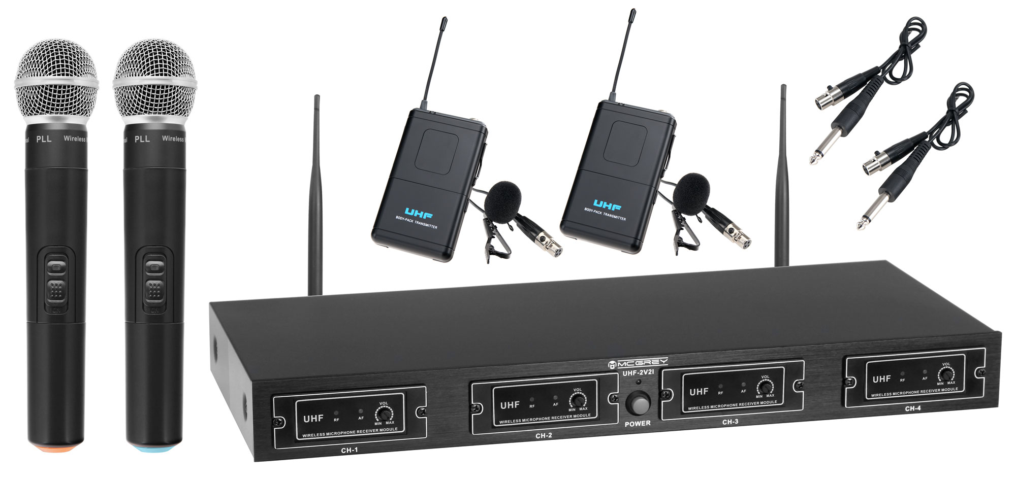 Mikrofone - McGrey UHF 2V2I Quad Funkmikrofonset mit 2x Handmikrofon und 2x Lavaliermikrofon 50m Retoure (Zustand wie neu) - Onlineshop Musikhaus Kirstein