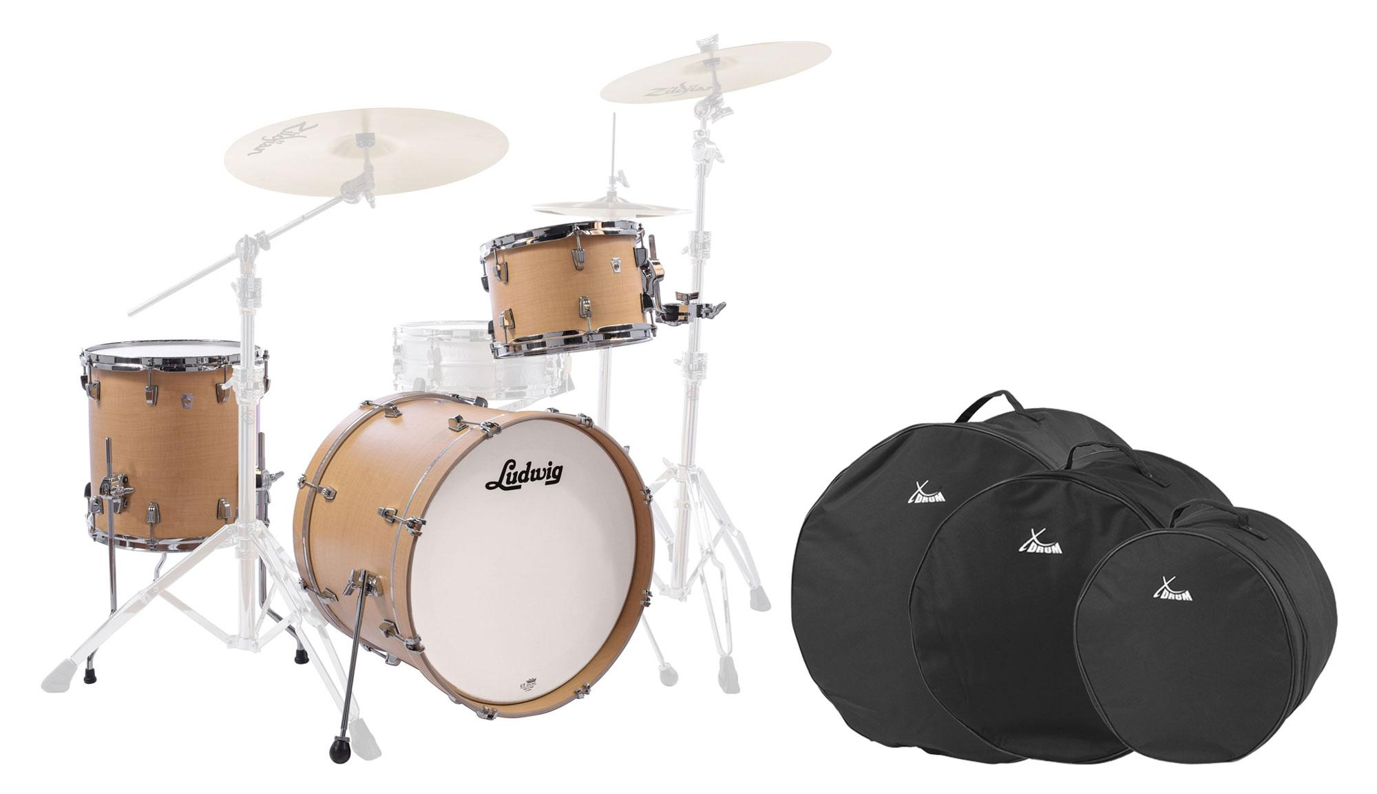 Ludwig L26223TX3Q NeuSonic Shellset Sugar Maple Set inkl. Drum Bags