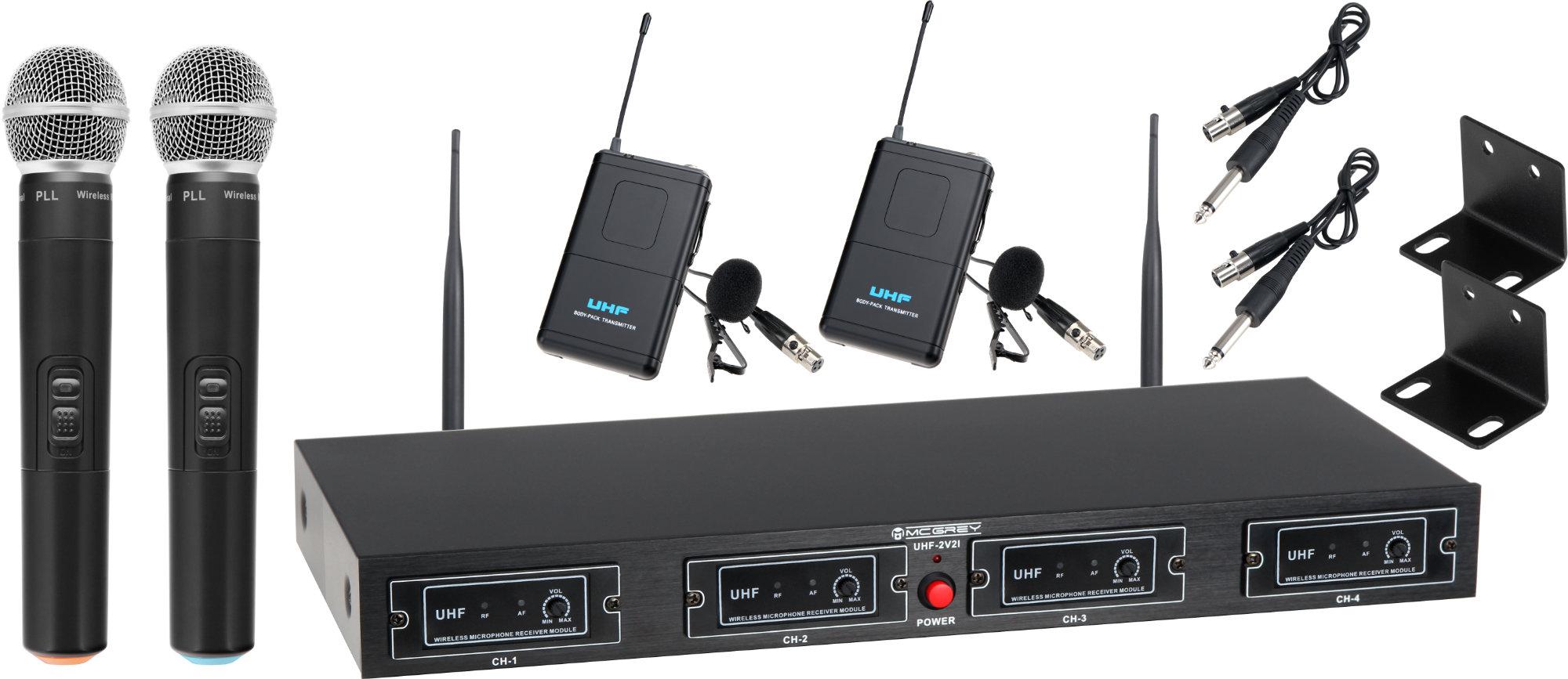 McGrey UHF 2V2I Quad Funkmikrofonset mit 2x Handmikrofon und 2x Lavaliermikrofon 50m