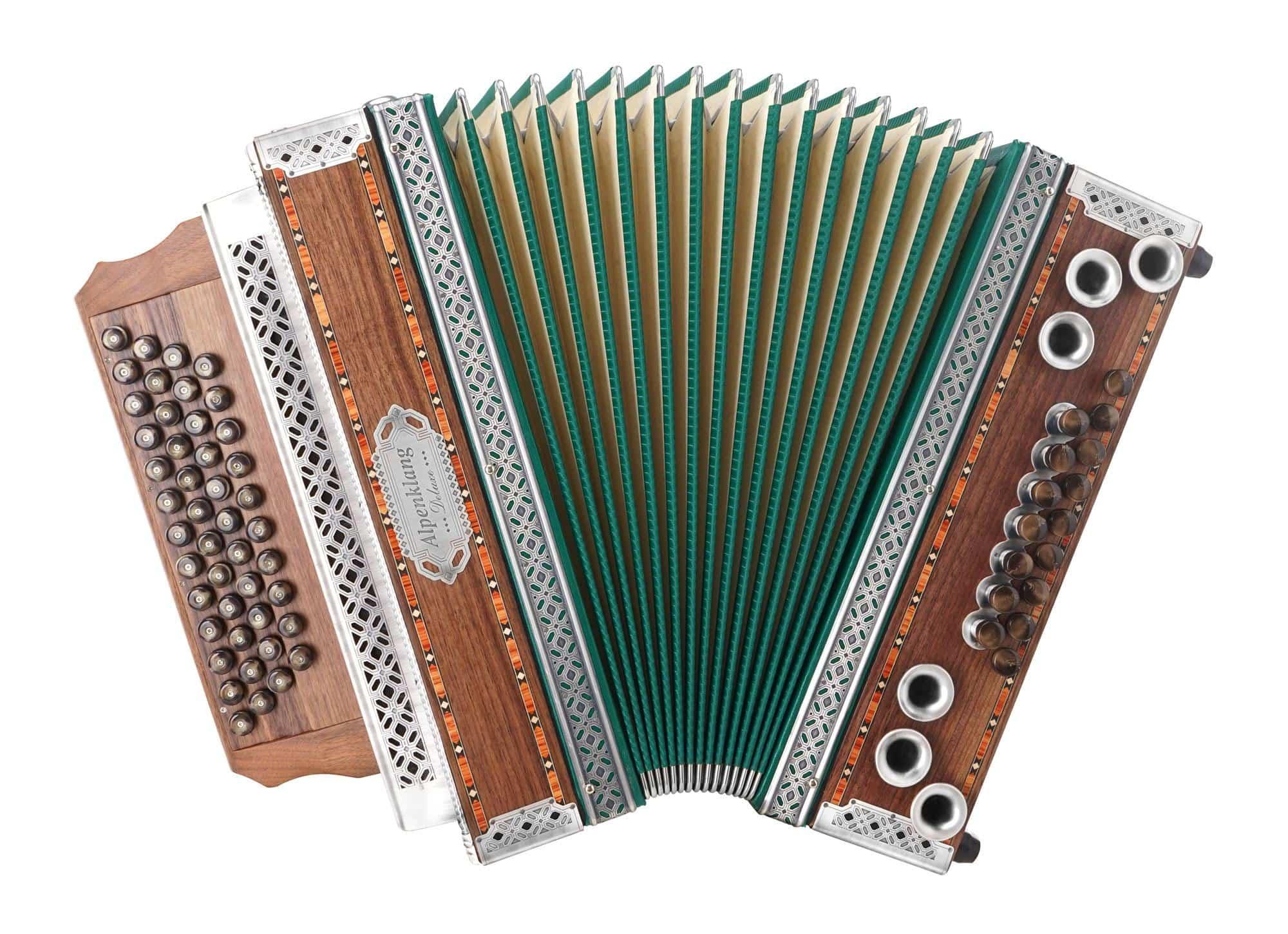 Alpenklang 4|III Harmonika 'Deluxe' G C F B Nuss mit Altsilber Beschlägen