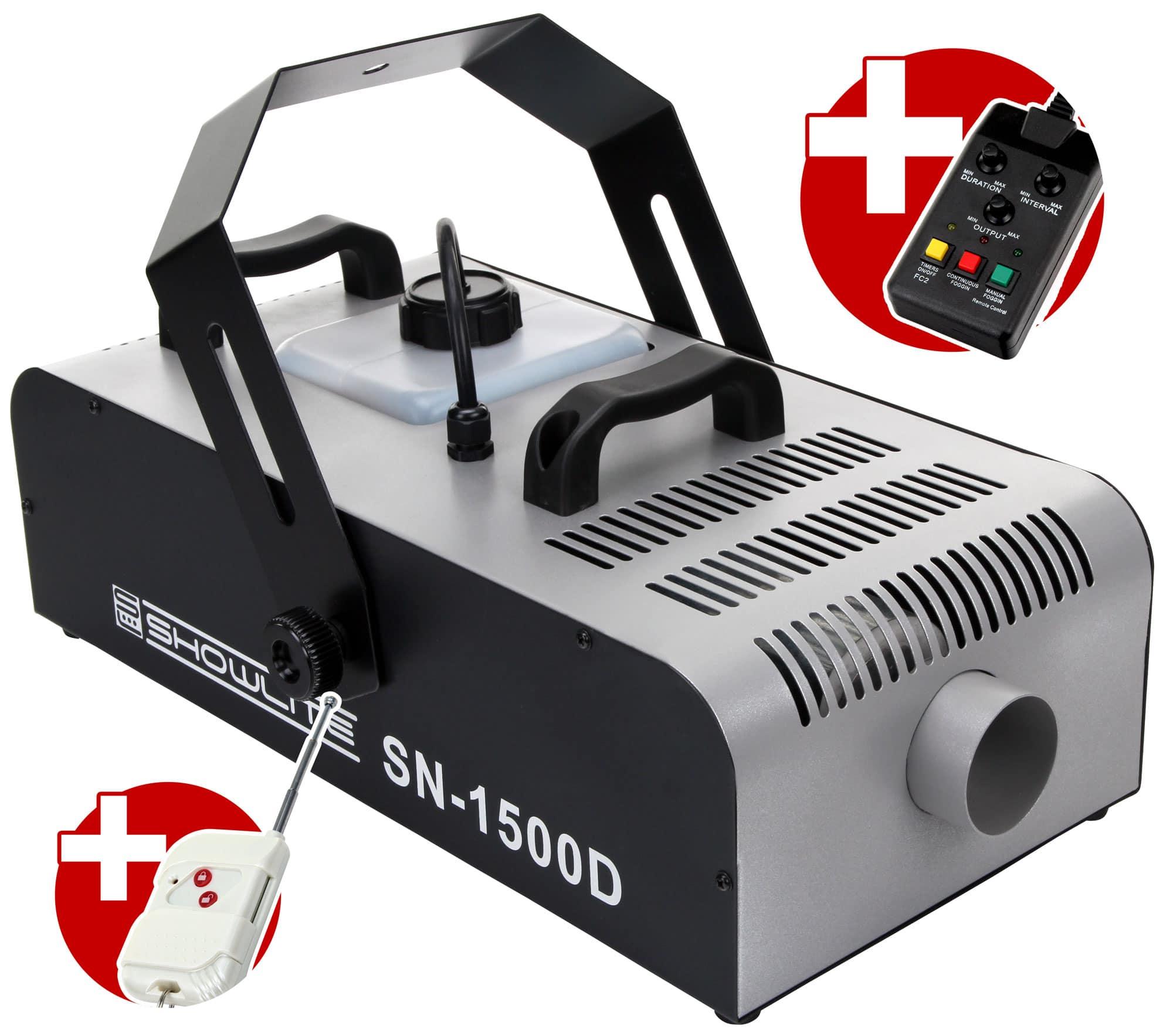 Nebeleffekte - Showlite SN 1500D DMX Nebelmaschine 1500W inkl. Fernbedienung mit Timer - Onlineshop Musikhaus Kirstein