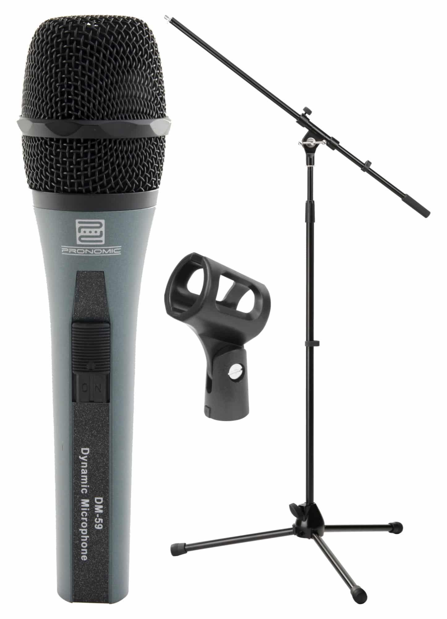 Pronomic DM 59 Mikrofon Starter SET Pronomic MS 15 Pro Mikrofonstativ mit Galgen