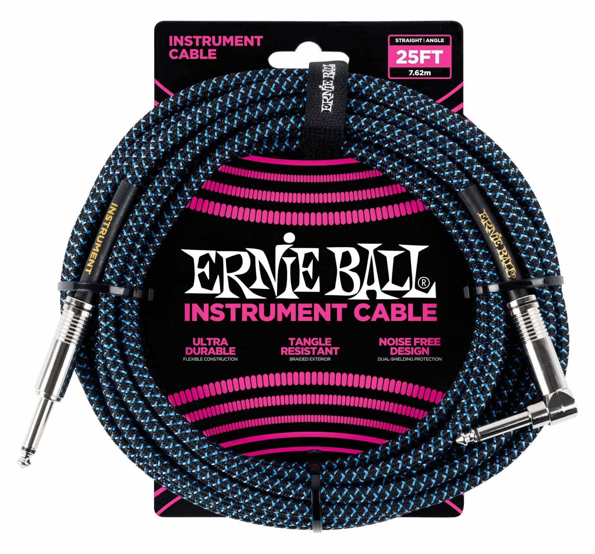 Kabelmulticores - Ernie Ball 6060 Instrumentenkabel 7,62 m Schwarz|Blau - Onlineshop Musikhaus Kirstein