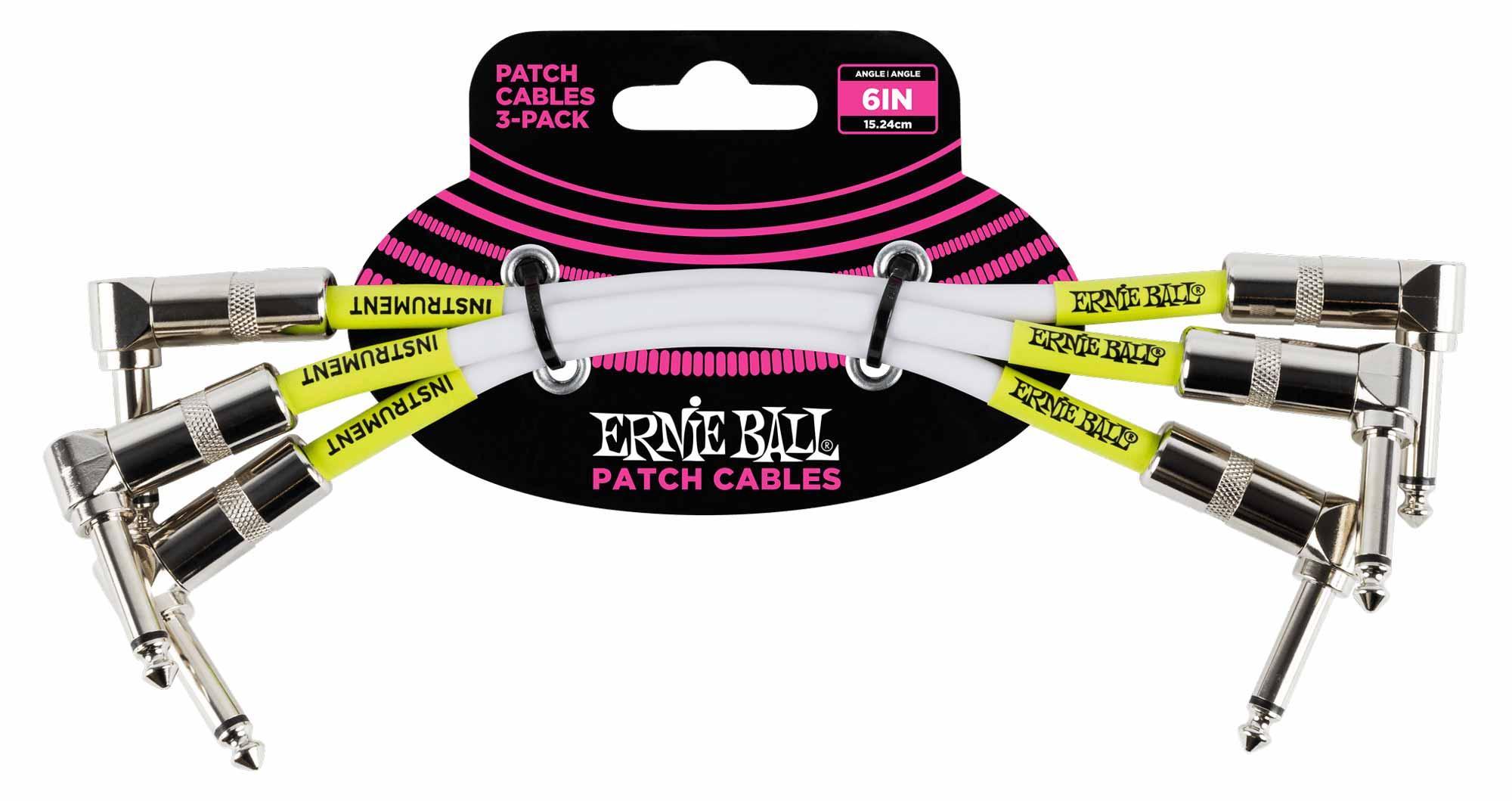 Ernie Ball 6051 Patchkabel 15,24 cm, 3er Pack Weiß