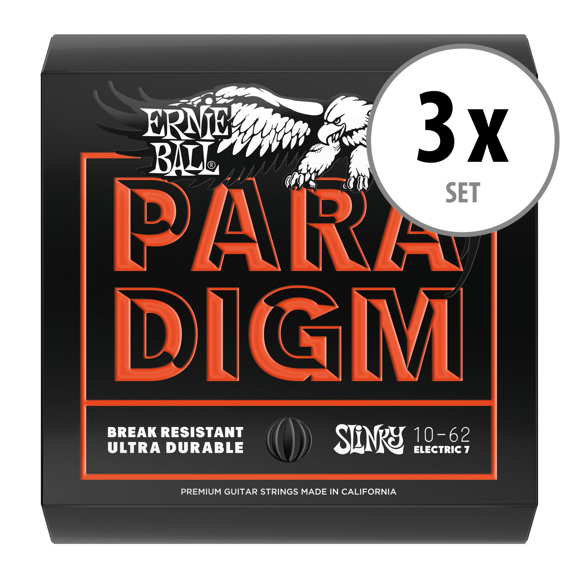 3er Set Ernie Ball 2030 Paradigm Skinny Top Heavy Bottom Slinky 7 String