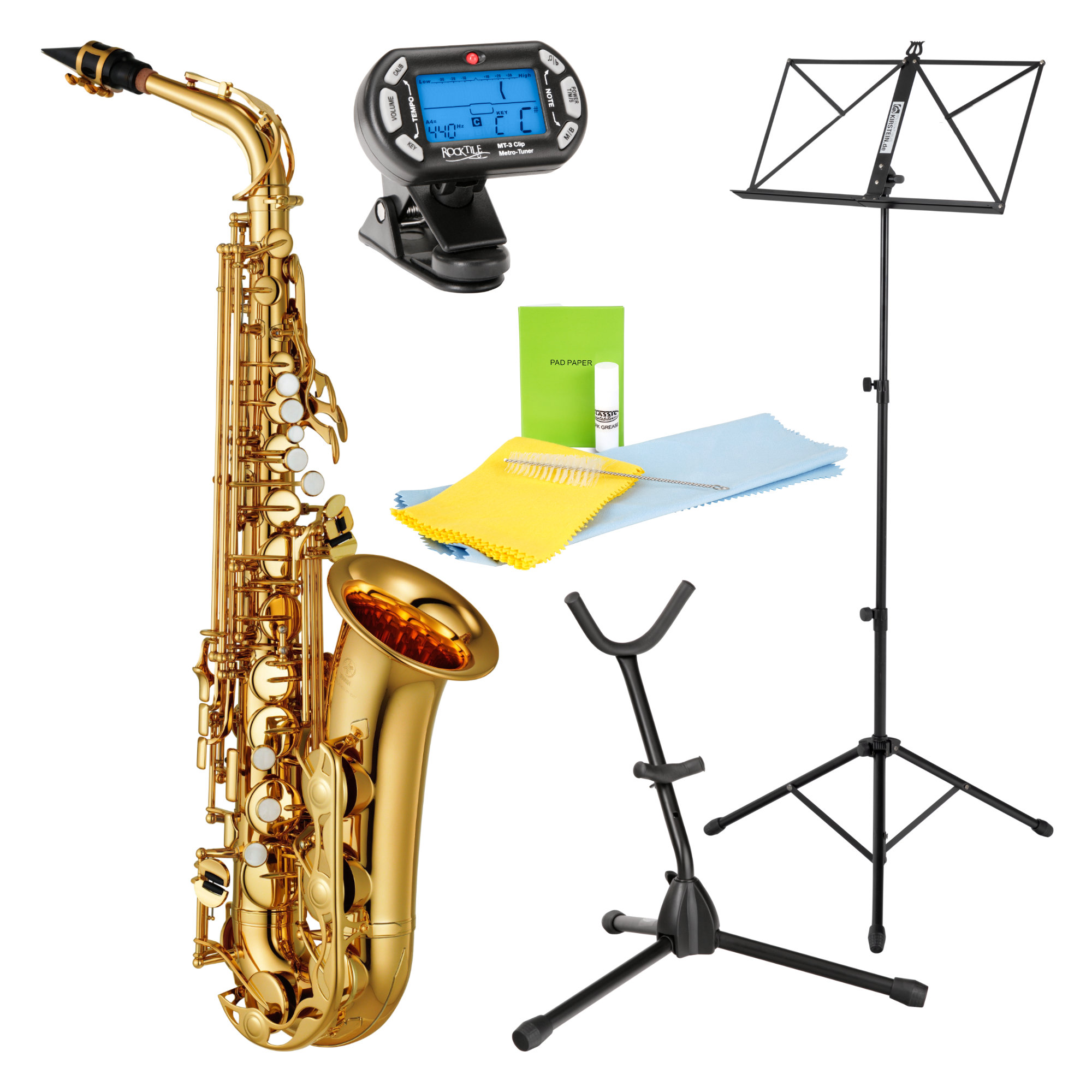 Yamaha YAS 280 Altsaxophon Set inkl. Metronom, Saxständer, Notenständer und Reinigungsset