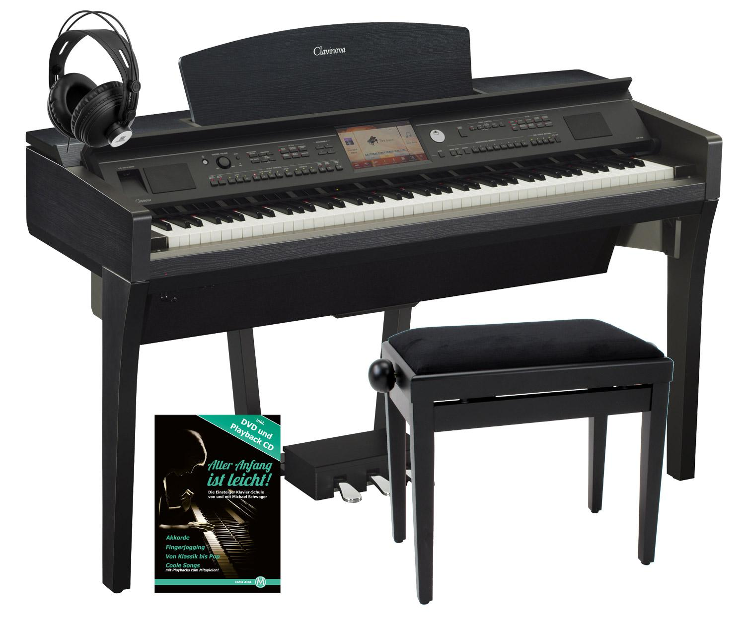 yamaha cvp 709 b clavinova digitalpiano schwerz set inkl bank kopfh rer klavierschule. Black Bedroom Furniture Sets. Home Design Ideas