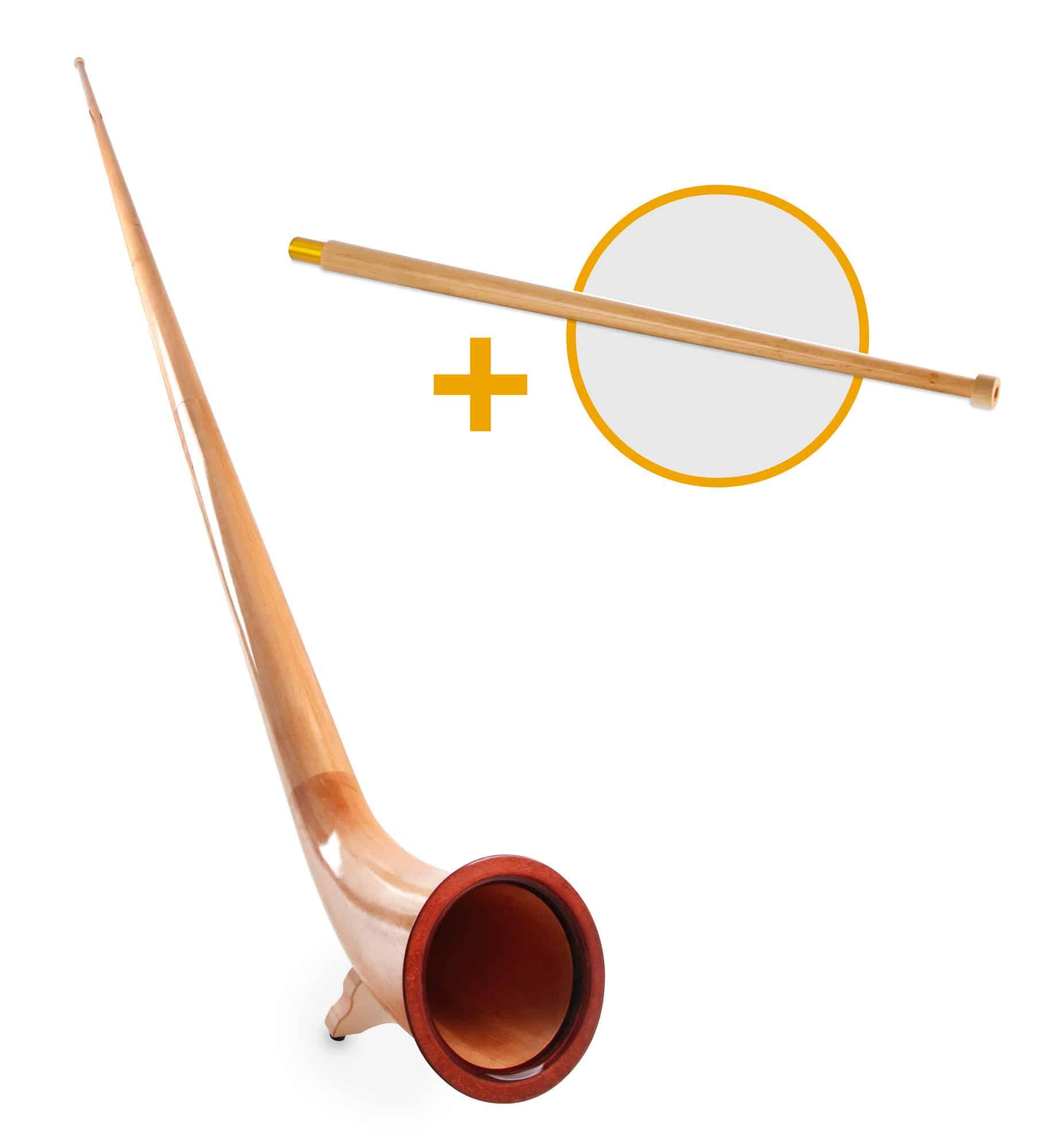 Hoerner - Lechgold Alphorn Erle F 360 cm 3 teilig Set inkl. Fis Handrohr - Onlineshop Musikhaus Kirstein